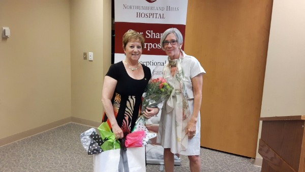 Northumberland Hills Hospital retiring board chair Elizabeth Selby (left) is seen at this week's annual general meeting with her successor Pam Went