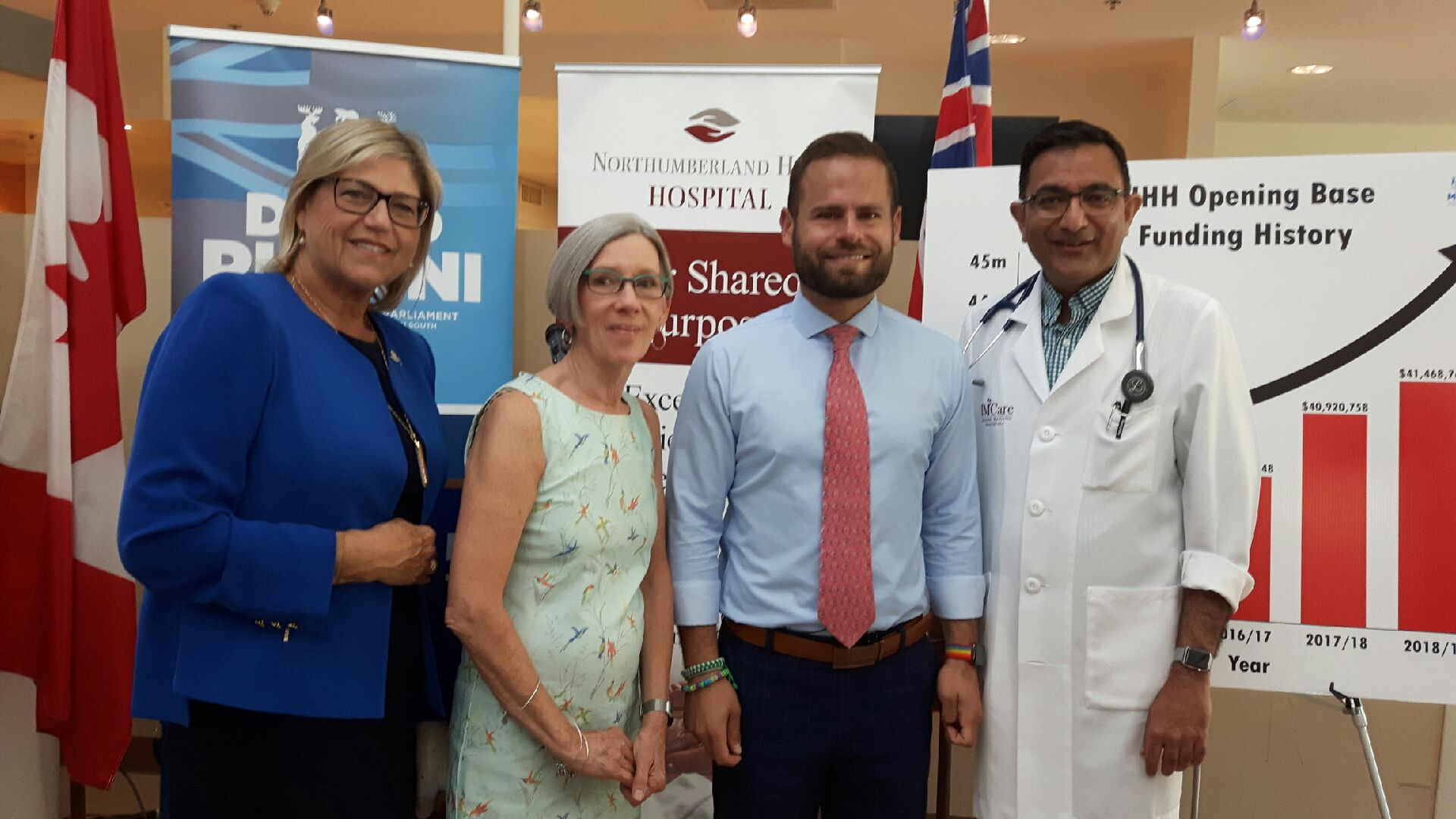 From left, Northumberland Hills Hospital president and chief executive officer Linda Davis and board chair Pam Went welcomed Northumberland-Peterborough South MPP David Piccini Thursday for a good-news funding announcement, along with NHH chief of staff Dr. Mukesh Bhargava.