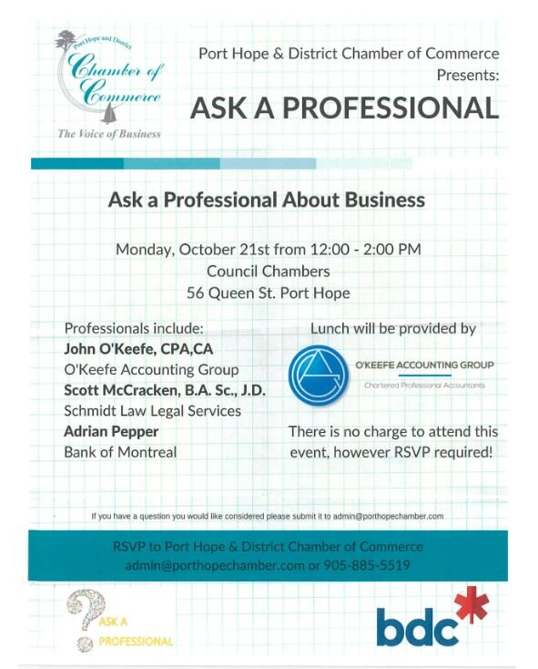 Anyone involved in Business is welcome to attend and ask the professionals in attendance any question they have - and its all Free as part of Small Business Week and sponsored by O'Keefe Accounting.... LUNCH PROVIDED WE JUST NEED RSVPs