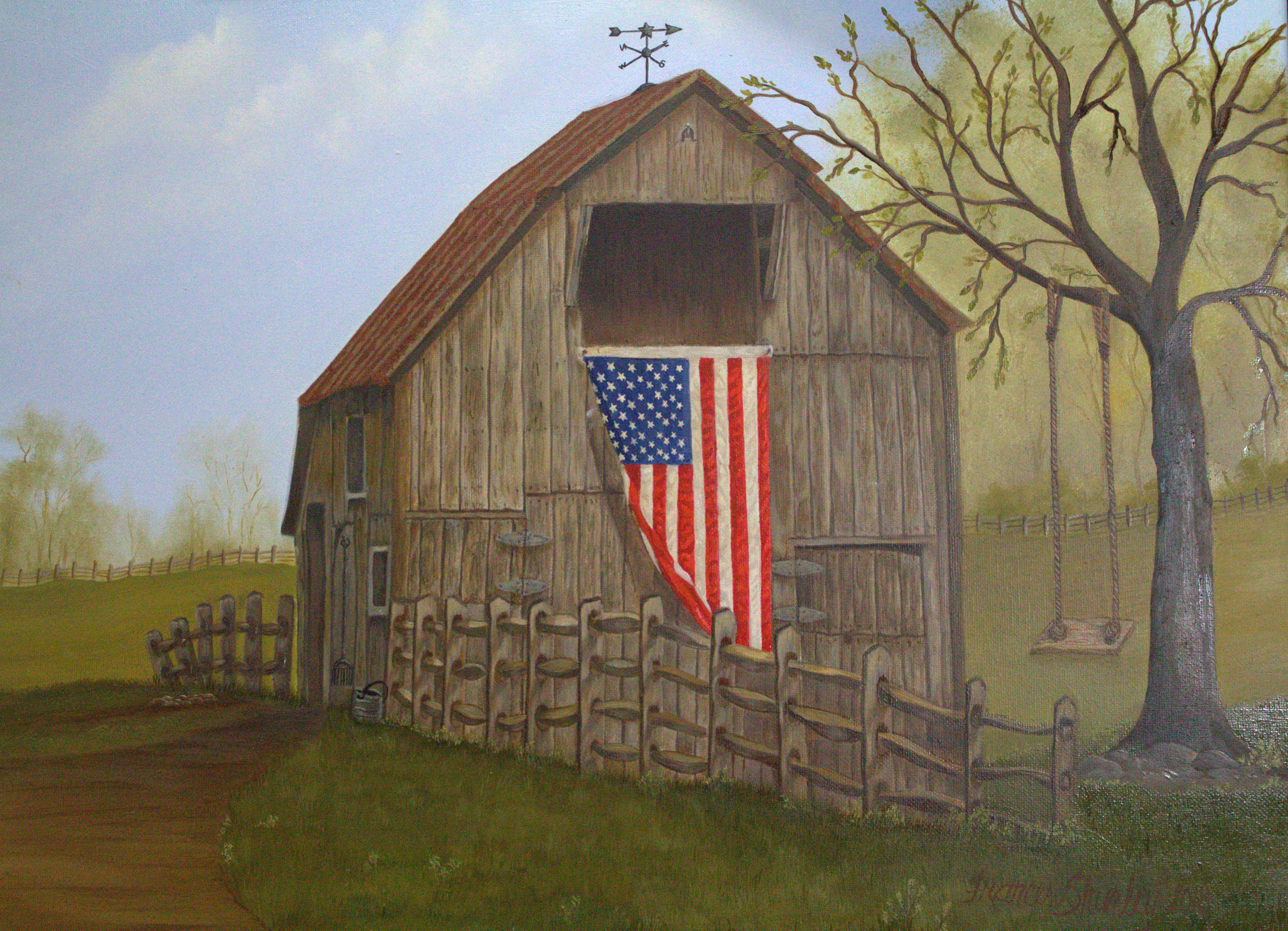 "Painting American Flag and Country Barn    ""Coming Home"" with all the good things from old."
