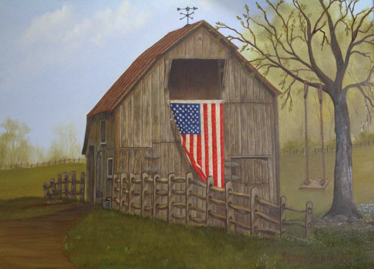 """American Flag and Barn - Oil Painting Original - 20"""" x 1"""" x 16"""" High Quality Canvas - Signed and Dated. Limited Edition Prints of 25 to follow at a later date by pre order when announced. My style of painting is very much Photo Realism but not to be mistaken for a photo. Many hours and layers of paint using fat over lean technique."""
