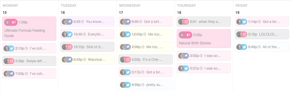 My schedule of posts to Facebook and Twitter - it also shows what's been posted in Instagram.