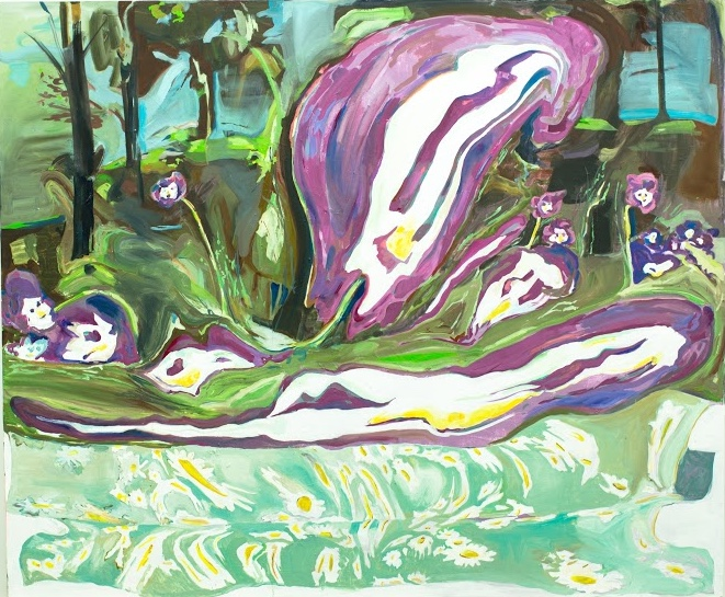 "Rachel Rossin. ""Pansy in Field."" Oil on Canvas. 60 x 72 in."