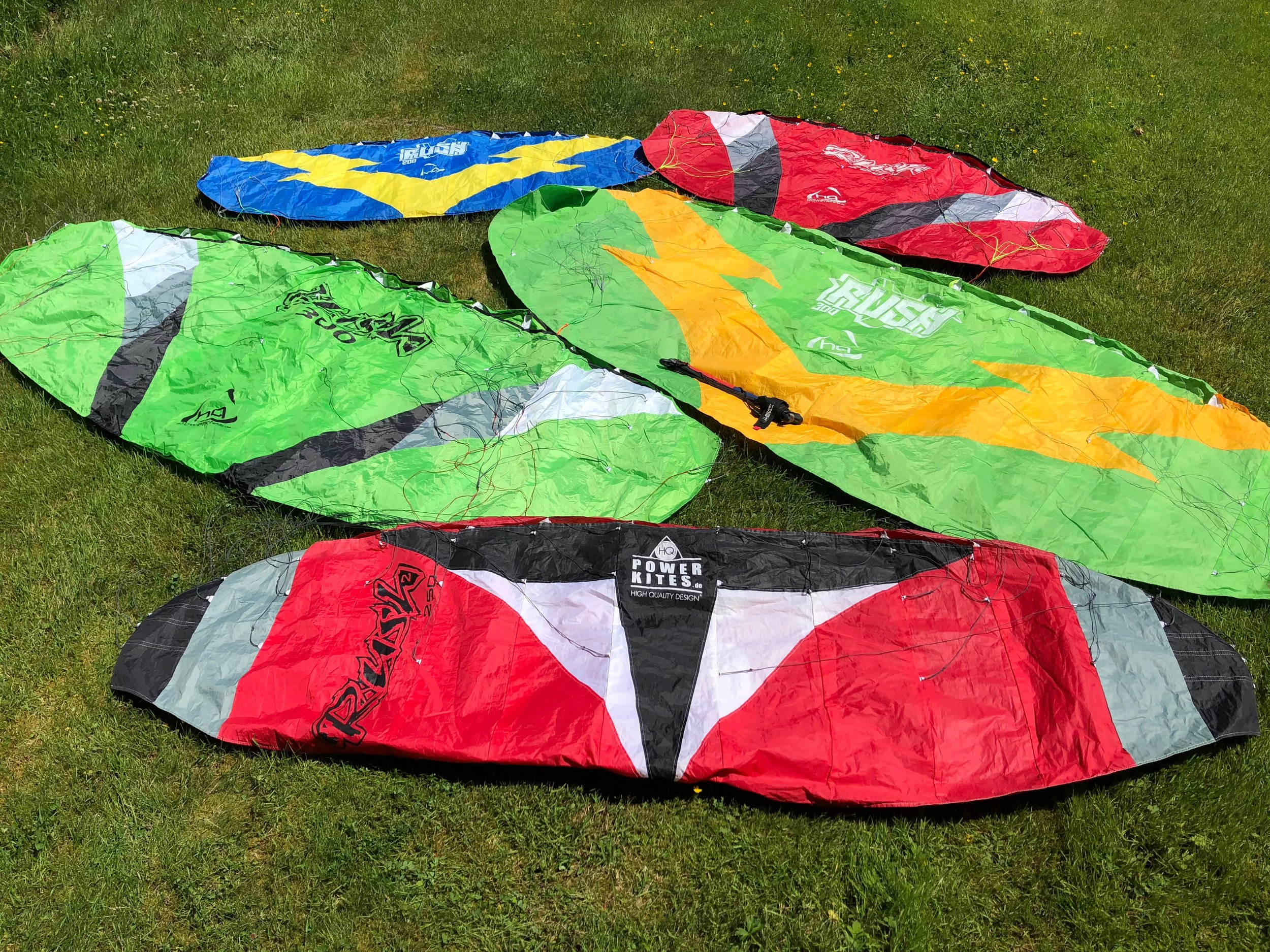 Used Land Based Training Kites - Retired with some repairs, most come with new bar and lines2m - $852.5m - $953m - $110
