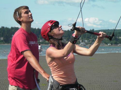 Level 1 + Level 2 Kiteboarding Lesson Training at Jetty Island Everett Washington