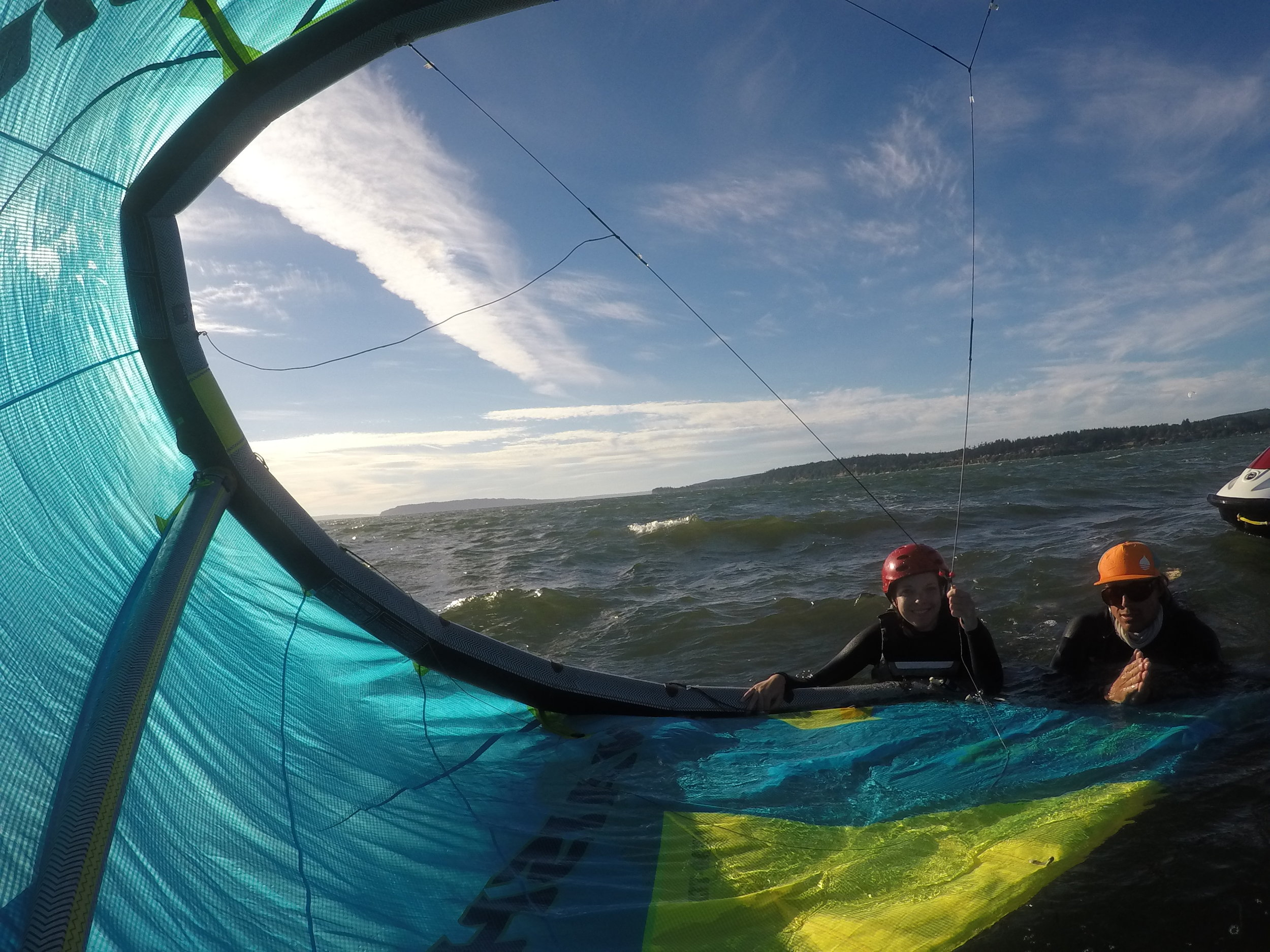 New Kiteboarders learn safety skills to be independent riders themselves one day