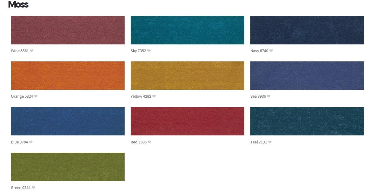 Choice of colours in the Signature Botanica carpet plank range