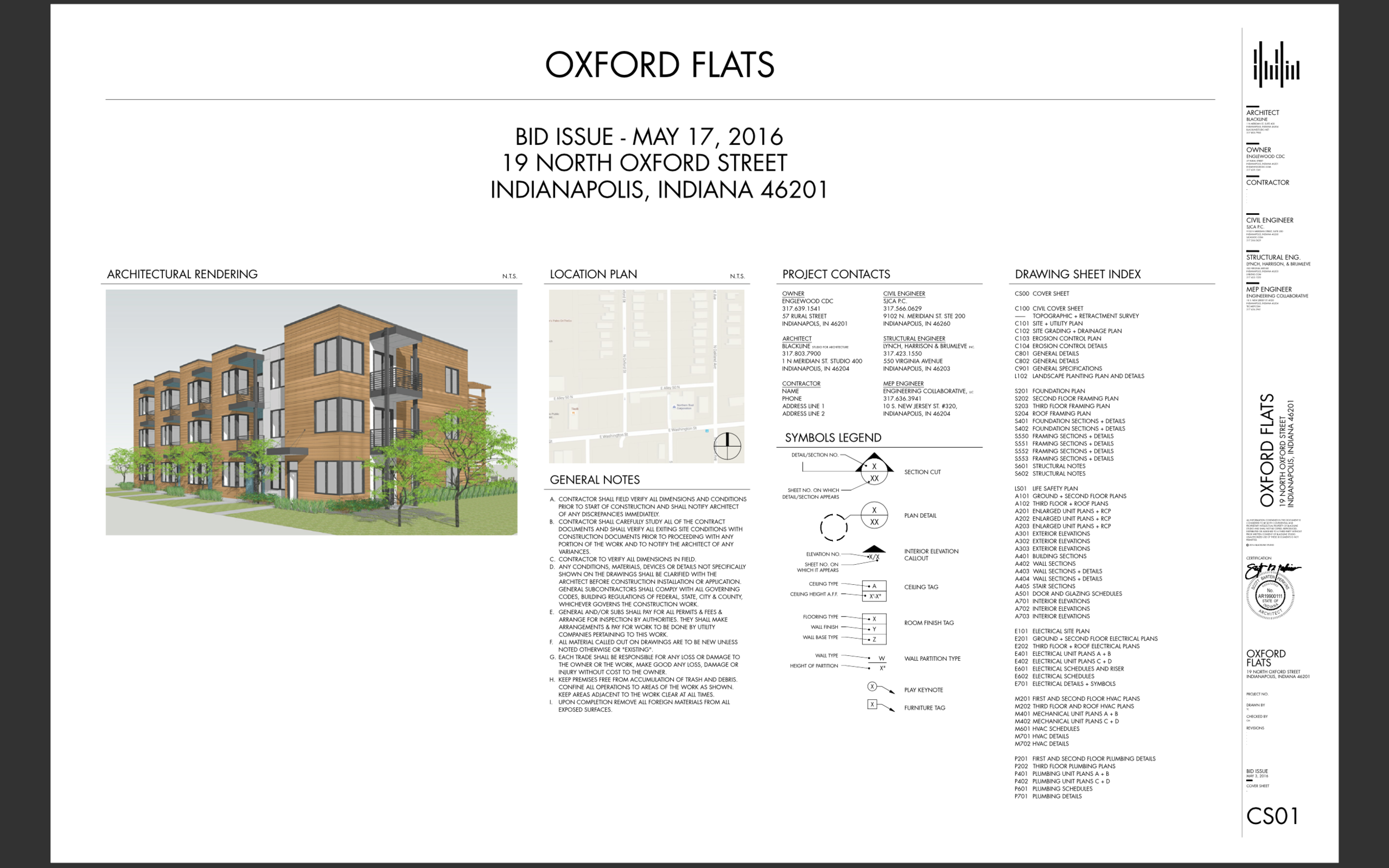 Oxford Flats Plans Cover Sheet