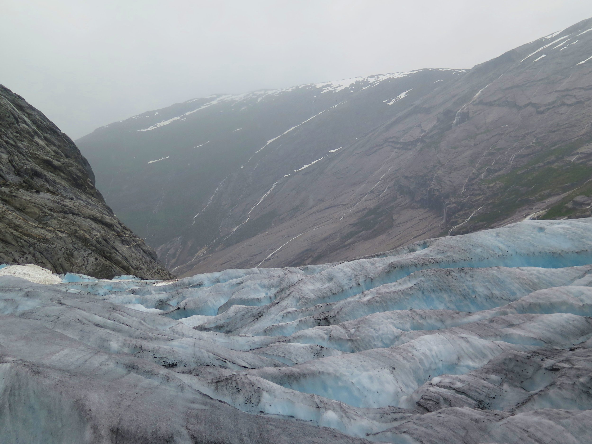 the daunting landscape of a glacier