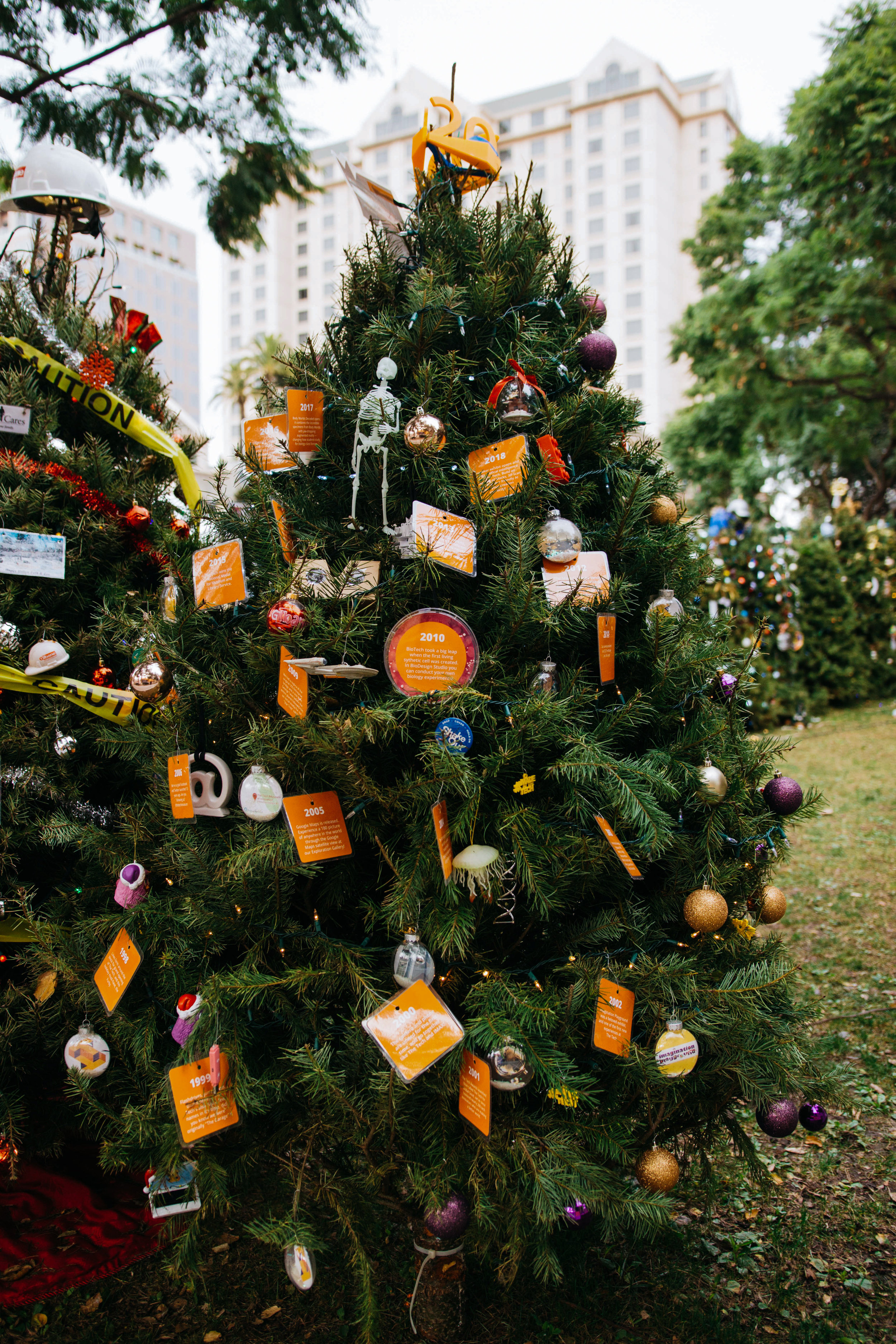 The Tech Tree-via: a  20-year timeline . The Media + Community team decorated and displayed a tree for Christmas in the Park, an annual holiday tradition in Downtown San Jose.