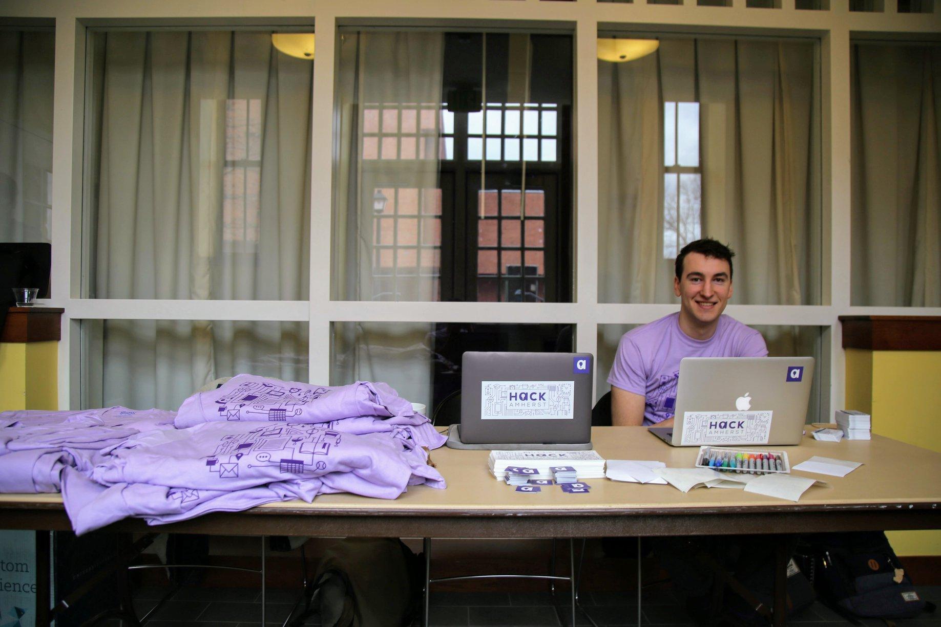 Organizer McLean '20 setting up shop.