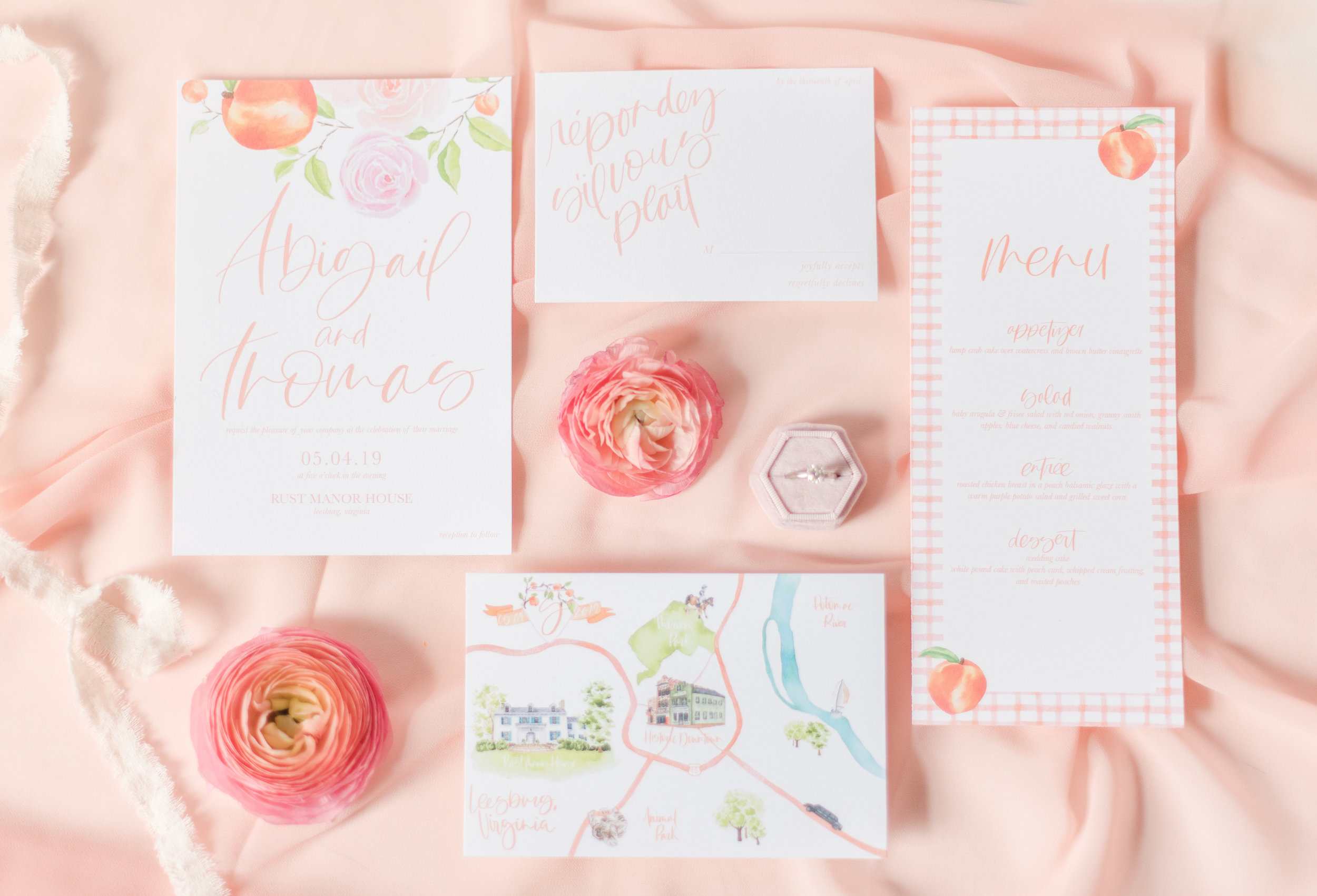 Peachy Wedding Invitation Suite