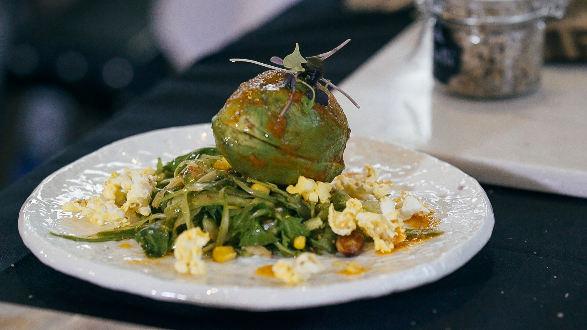Avocado and Popcorn - This recipe was curated for my art of plating masterclass featuring asparagus and popcorn.