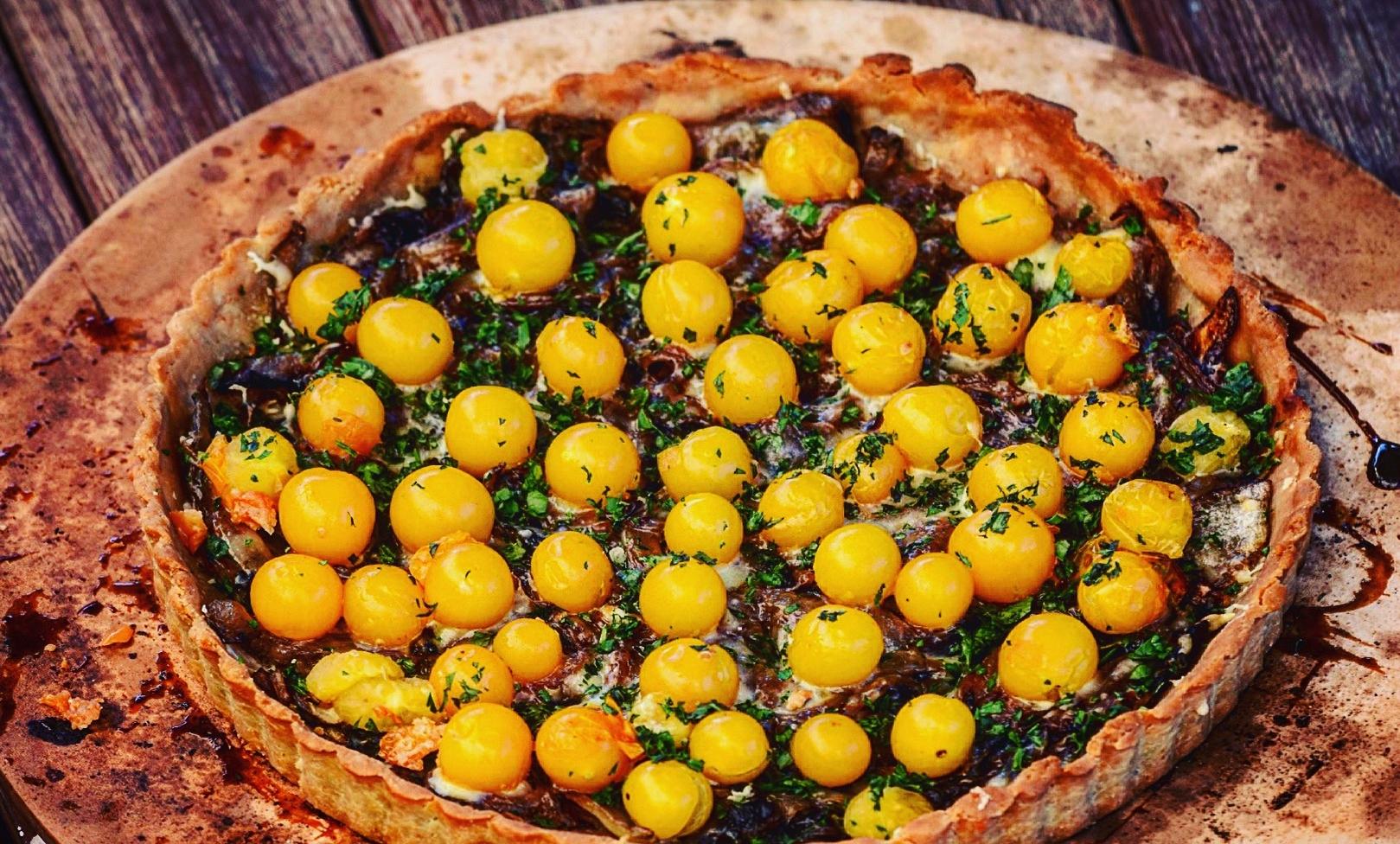 Yellow Cherry Tomato and Quinoa Tart