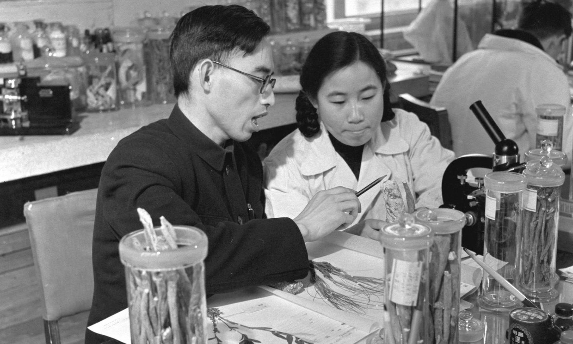 Dr. Tu working with her mentor, Professor Lou Zhicen, circa 1950s.  Image: Public Domain
