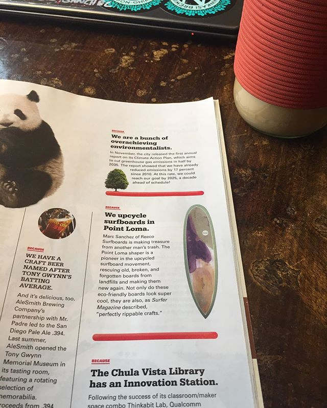 Stoked! to be in @sandiegomag as one of the reasons to love SD. It's a great place to live.  #sandiego #sandiegomagazine #sandiegomag #reeco #reecosurfboards #upcycled #california #surf #resinart
