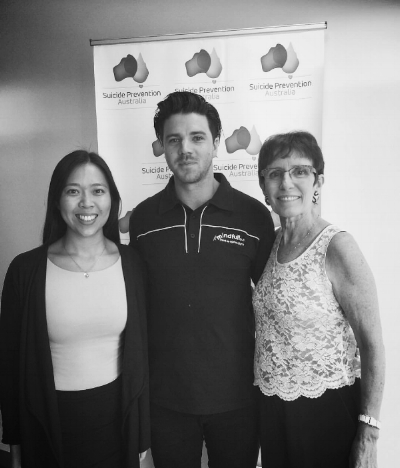 Matt Runnalls   with Suicide Prevention Australia Manager Michelle Kwan & CEO Sue Murray
