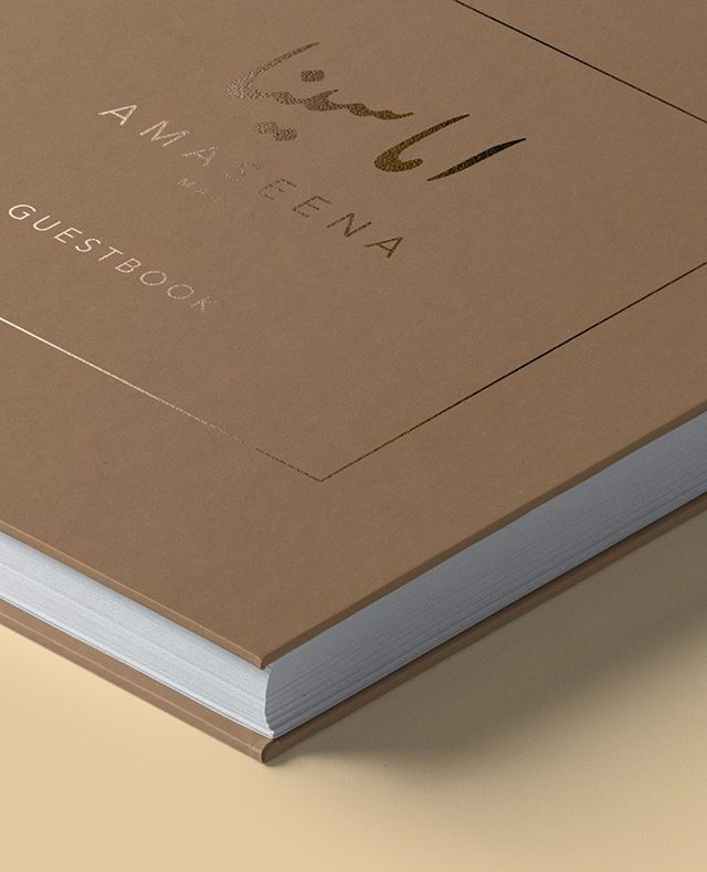 Book Design. Tribal chic branding for Amaseena Majlis at The Ritz Carlton, Dubai  #packaging #print #stationery #ramadan #arabic #calligraphy #creative #design #branding #logo #r24design