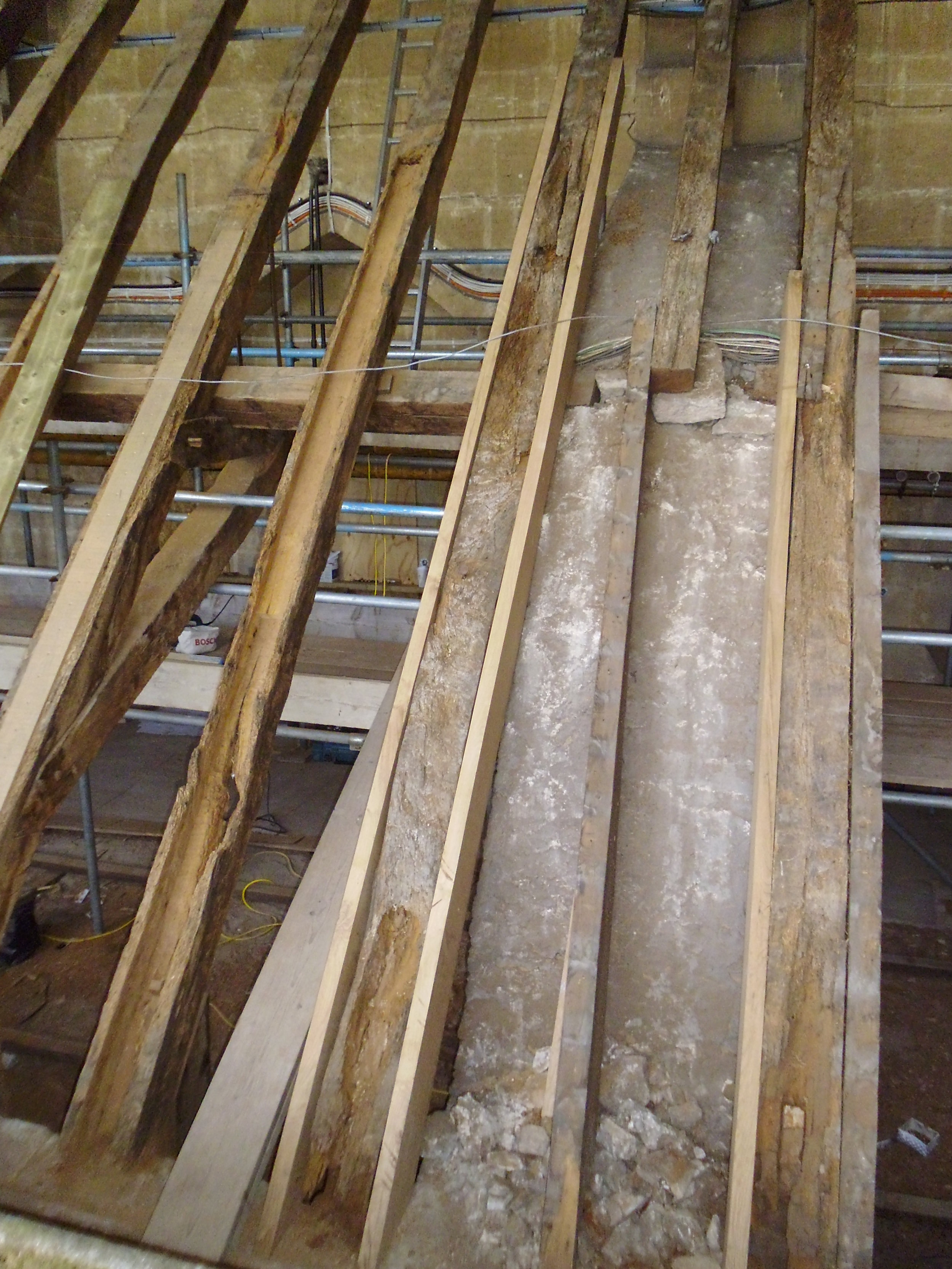 During construction: Repairs being carried out to timber structure