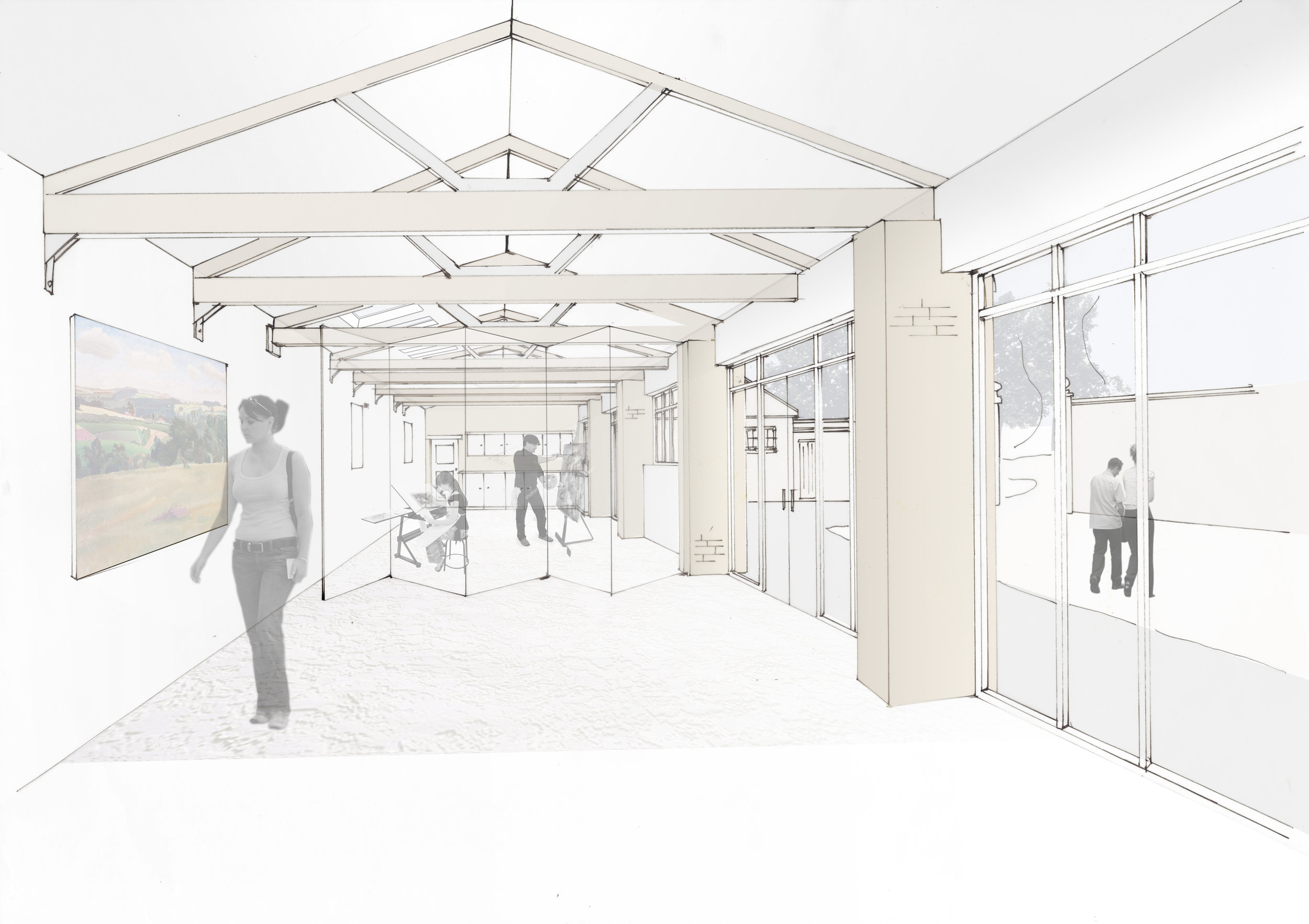 Stables - Sketch perspectives  NCA have recently been appointed to produce a feasibility scheme exploring how studio spaces may be incorporated into the existing storage areas to the rear of the stables.
