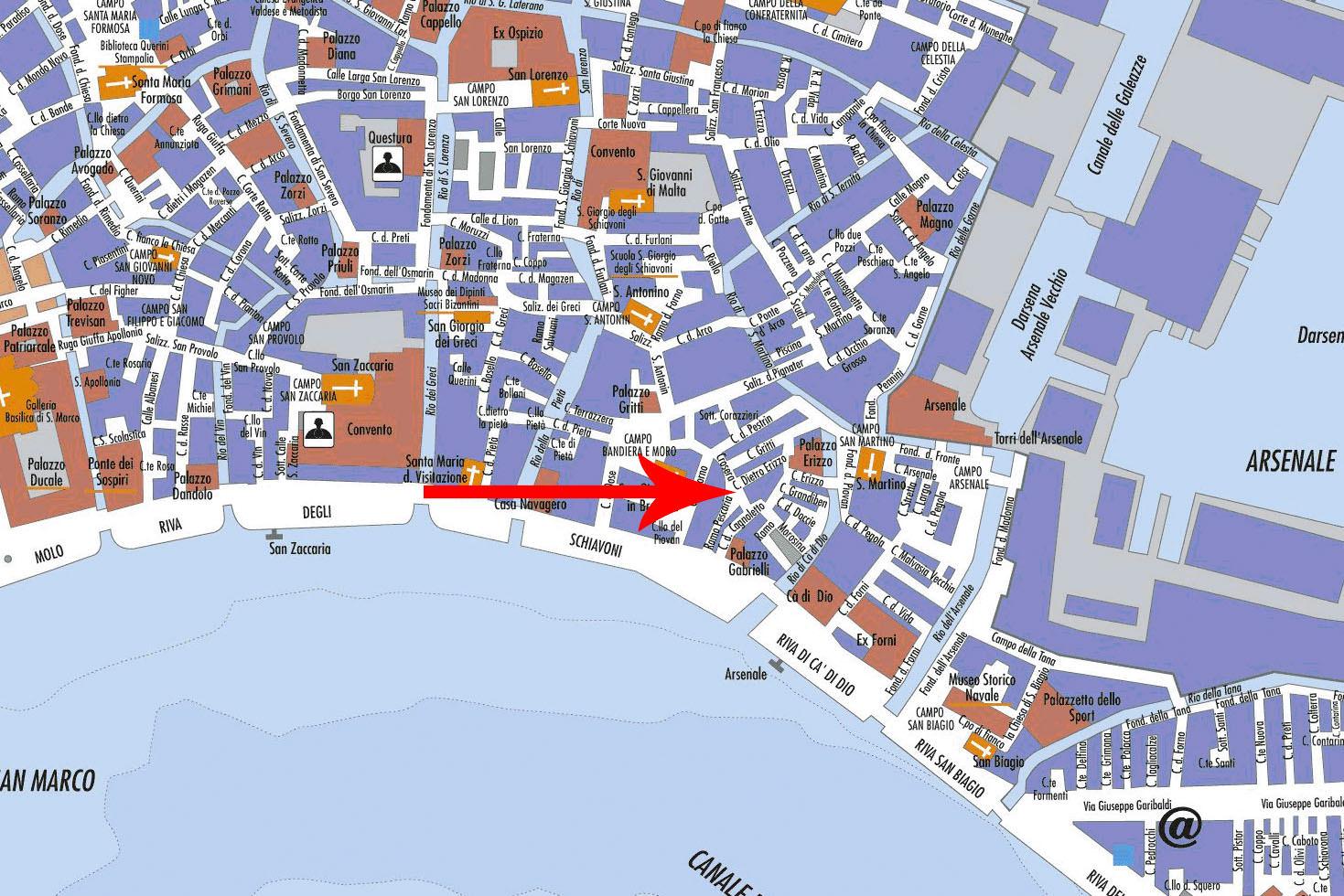 Le plan de la trattoria, pizzeria Al Vecio Portal, à Castello