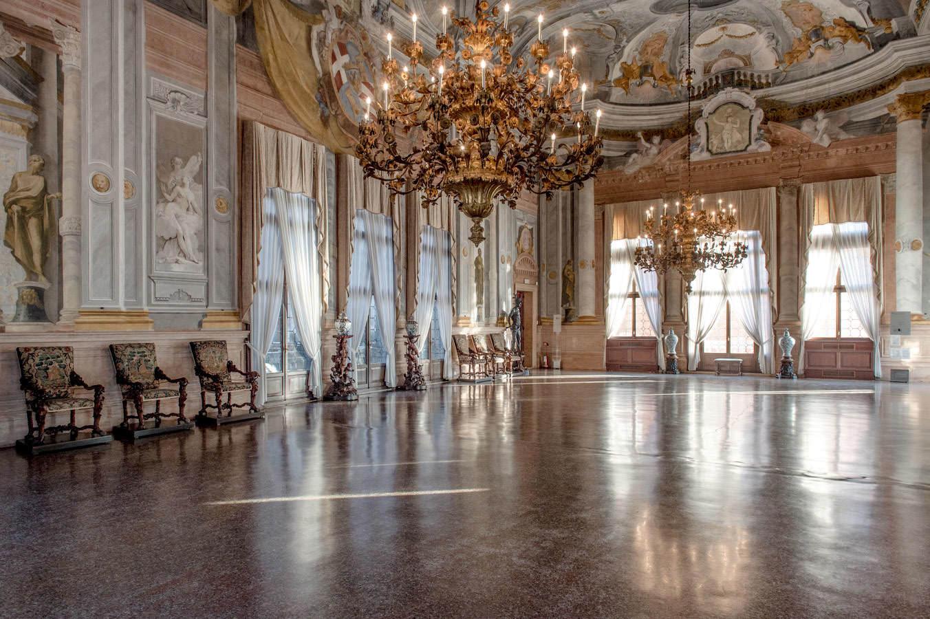 The magnificent ballroom in Ca' Rezzonico