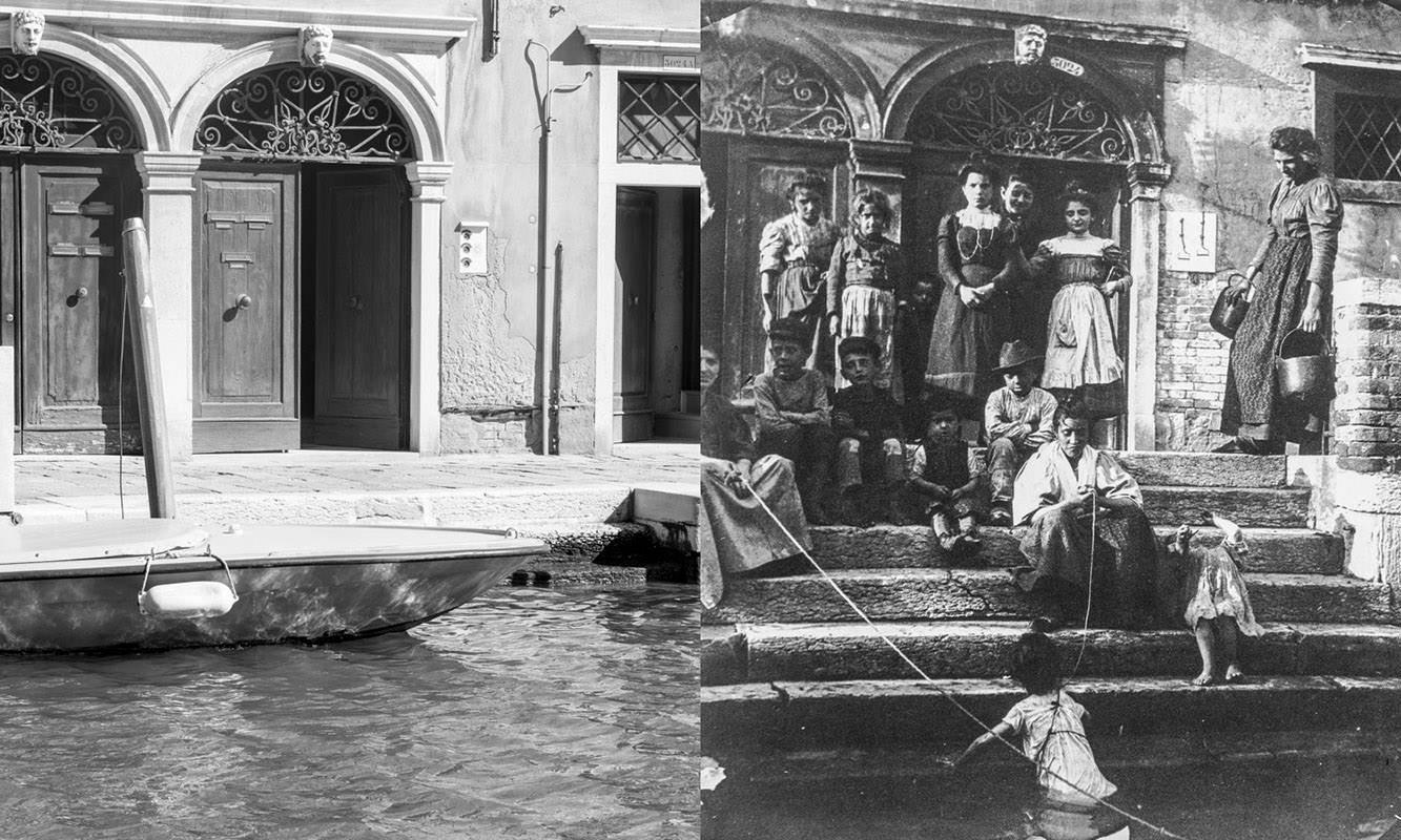 Sestiere Cannaregio, oggi e nel 1889. Bagno nel canale