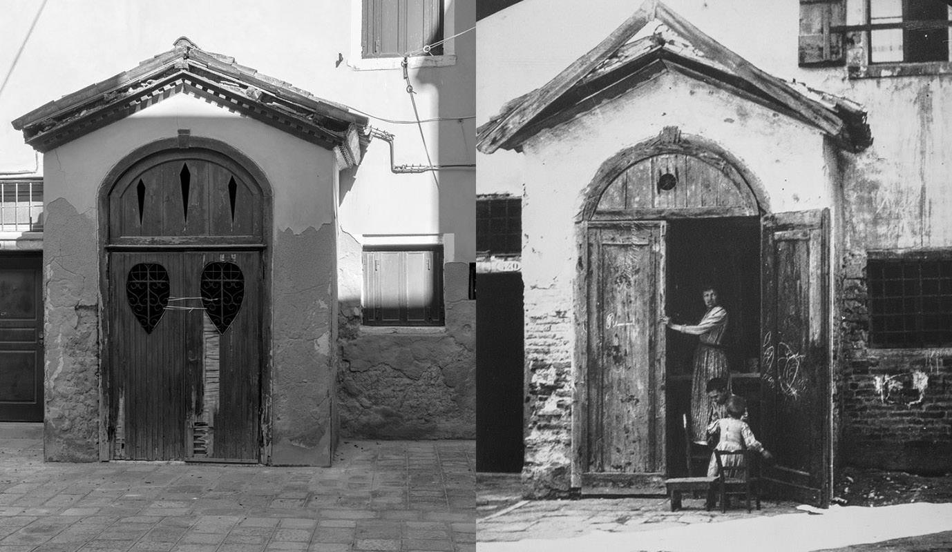 Sestiere Castello, oggi e nel 1889. Famiglia nella cappella.