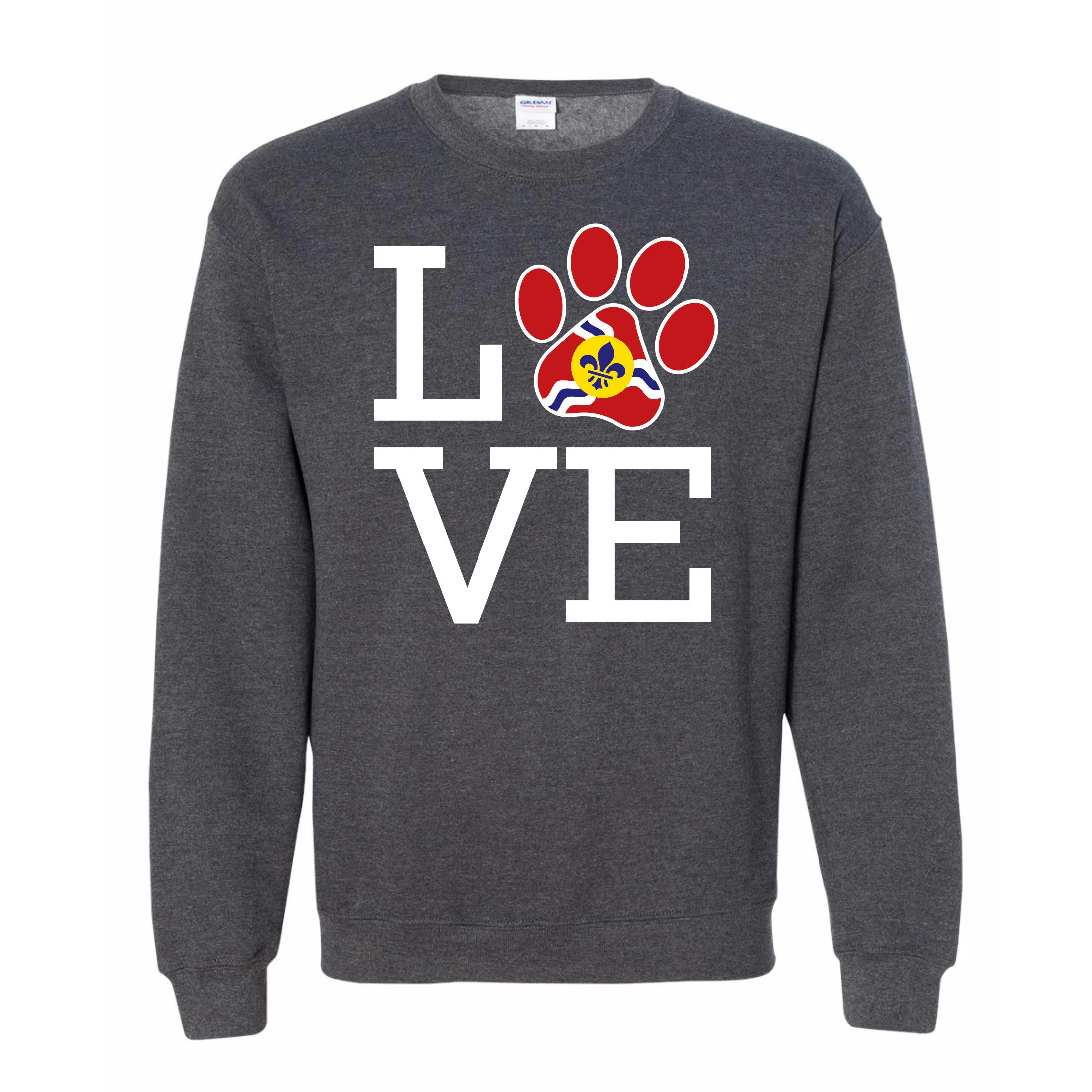 """- Heather Grey Sweatshirt """"STL Love""""$30.00- Super Soft combed and ringspun cotton or cotton/polyester depending on color- Side seams, retail fit- Shoulder to shoulder taping- Unisex sizing"""