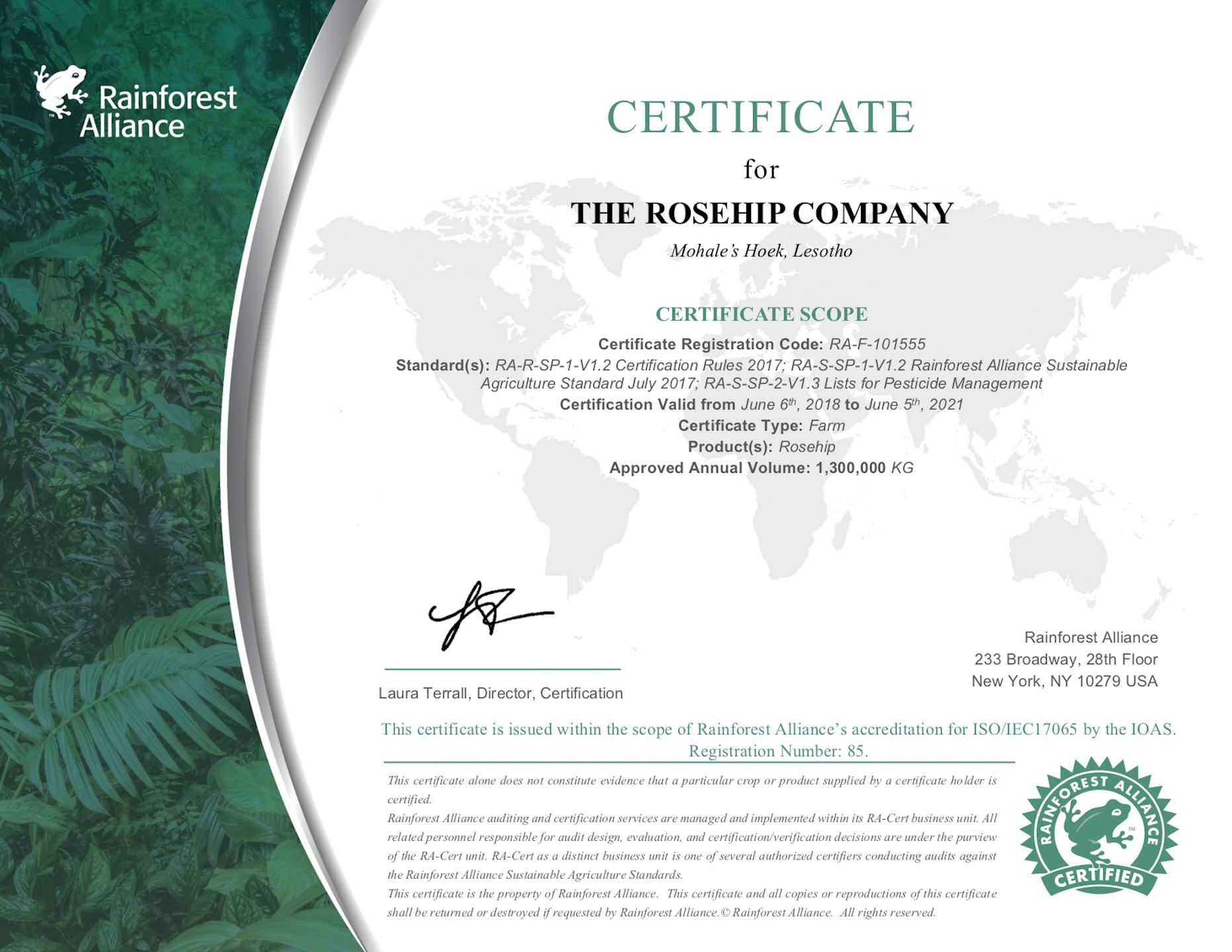 CertifucateRoseHip