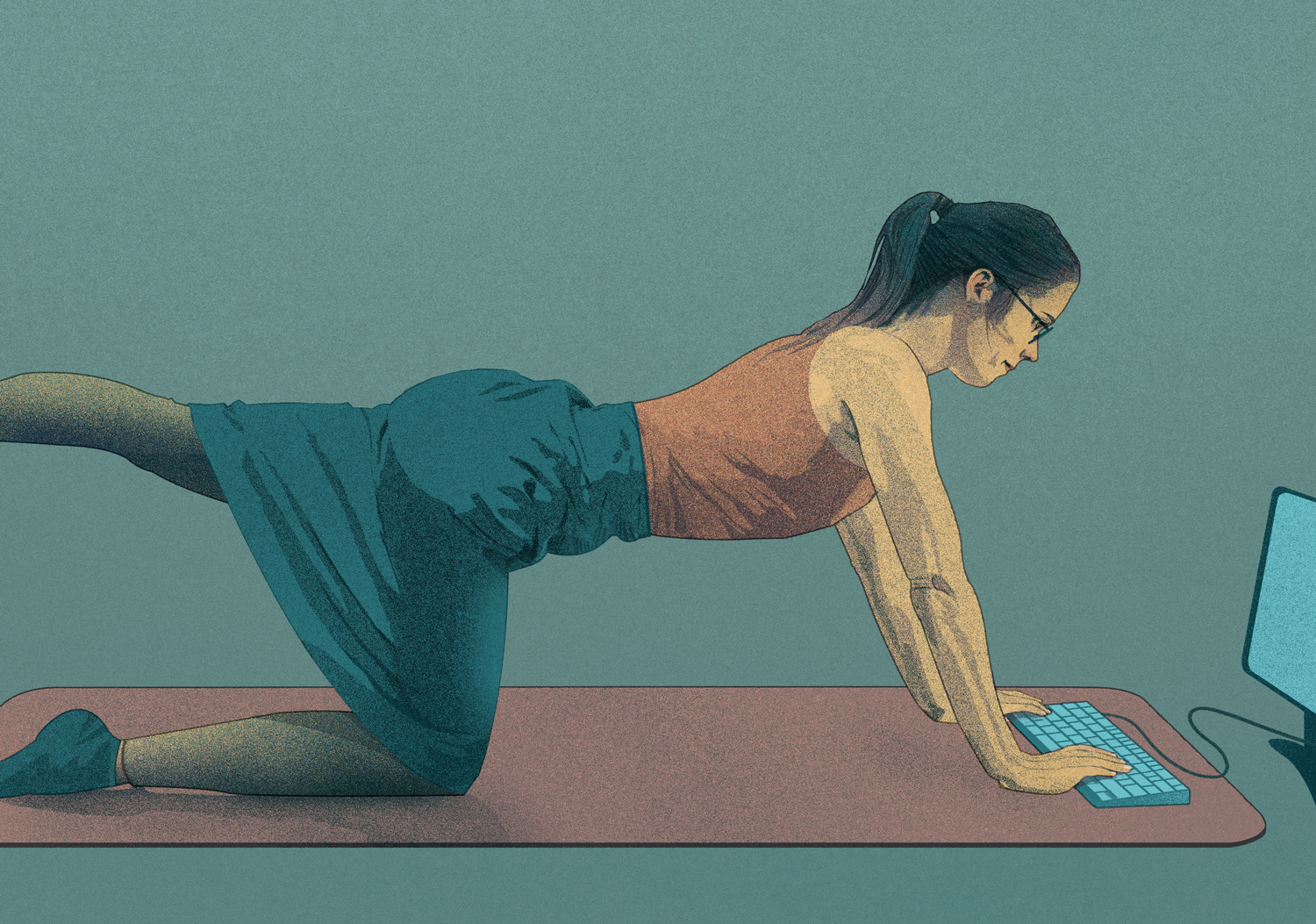 HOW TO STAY FIT AND HEALTHY AT WORK   Self initiated, unpublished illustration