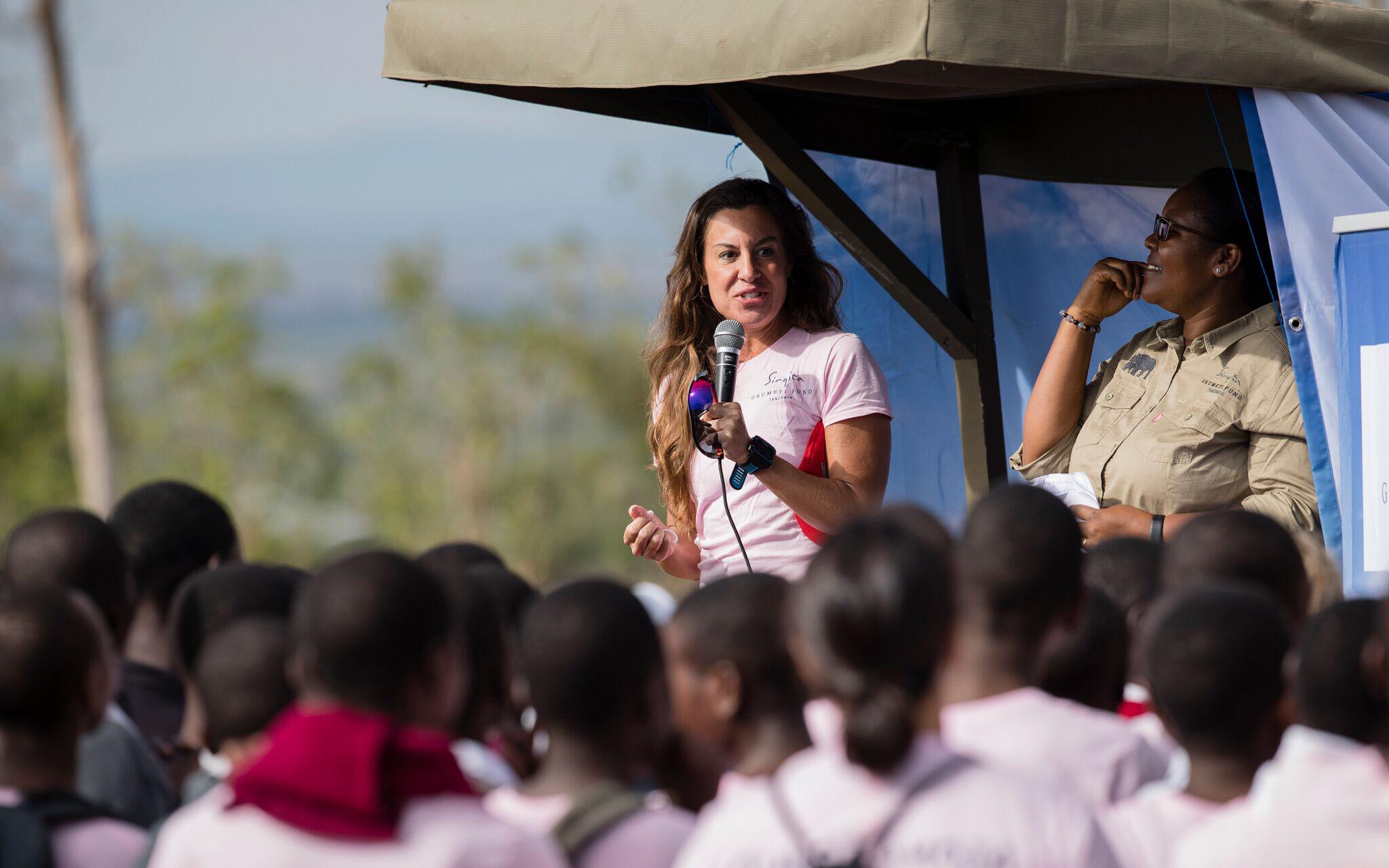 Rhonda speaking to local schoolgirls as part of the  Serengeti Girls Run