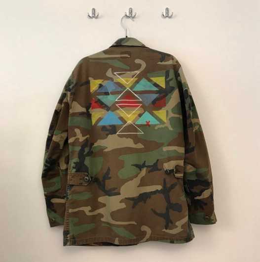 STUDIO THORAL  HANDMADE /Vintage military camo jacket Hand Painted WITH LOVE #collage #artwork #art #painting #camo #vintage