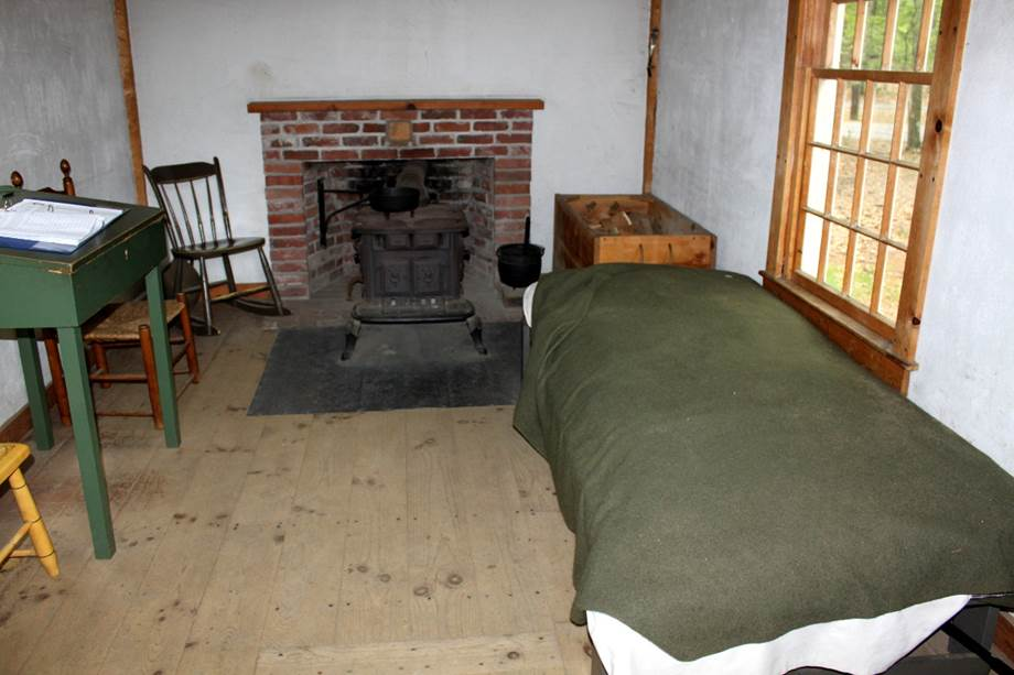 """Interior of Henry David Thoreau's cabin at Walden Pond, where he wrote, """"I have never met man who was quite awake."""""""
