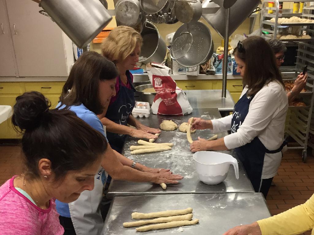 Making Heidi's Challah at the Beth Shalom Synagogue.