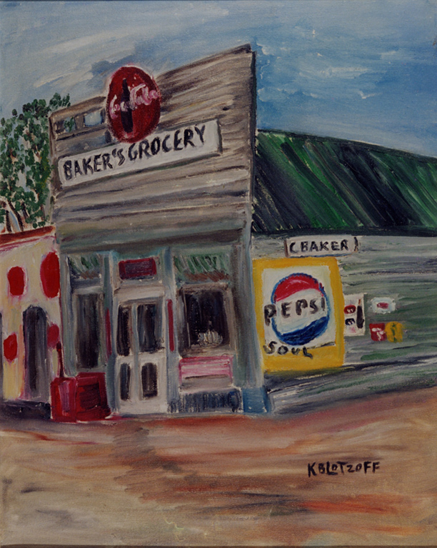 Baker's Grocery, painted by Kathryn Baker Lotzoff. Image courtesy of Larraine Lourie Moses