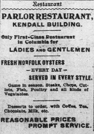 "Advertisement for Parlor Restaurant, which featured ""Fresh Norfolk Oysters"" daily. Reprinted from  The State , January 26, 1897."