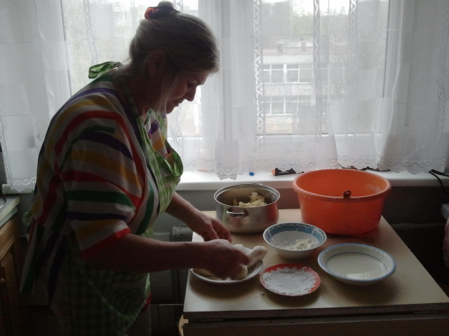 Birute Beresniova cooking in her home in Lithuania