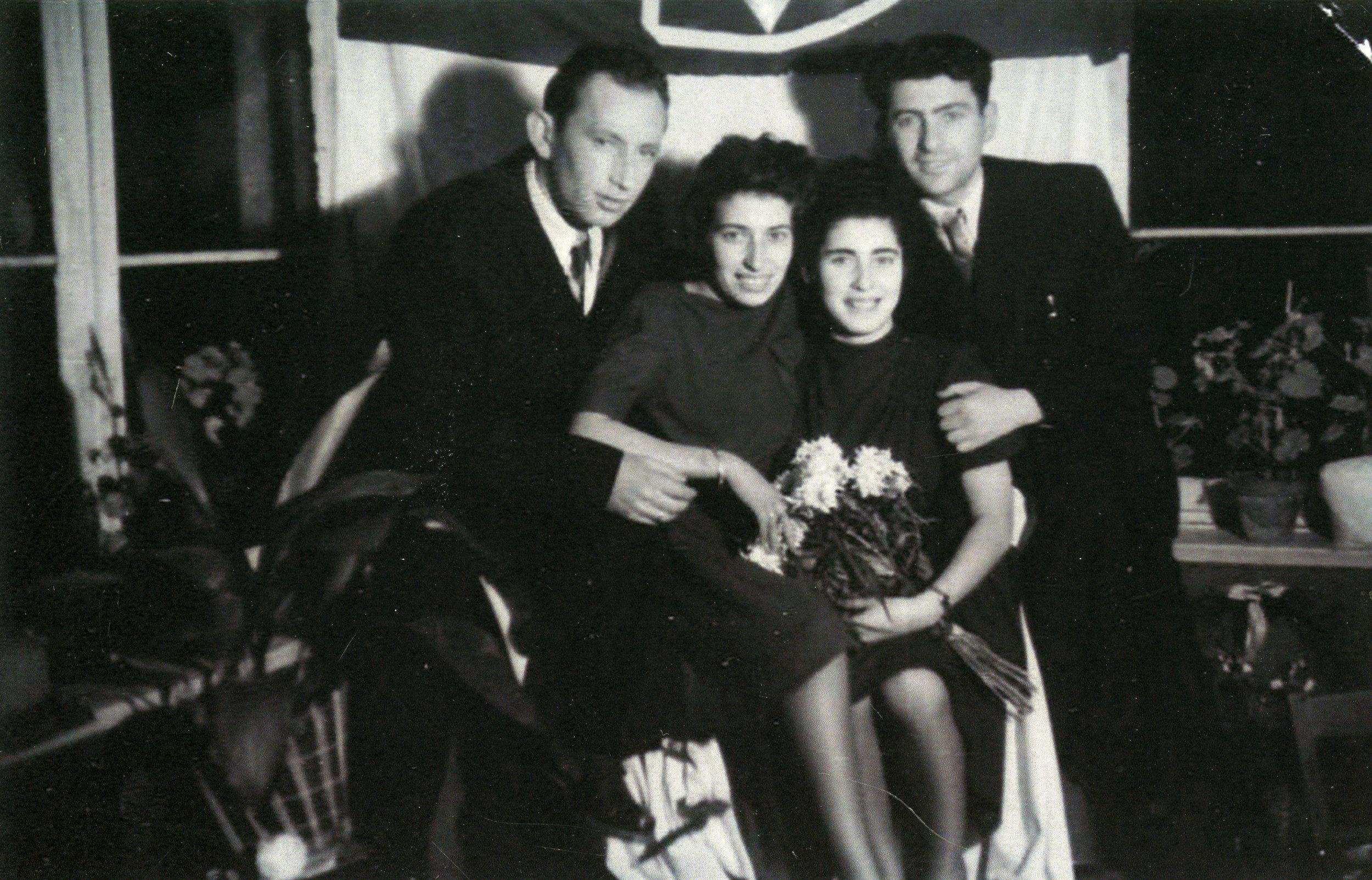 David and Cela Miller pose with Bluma and Felix Goldberg. Image courtesy Henry Miller