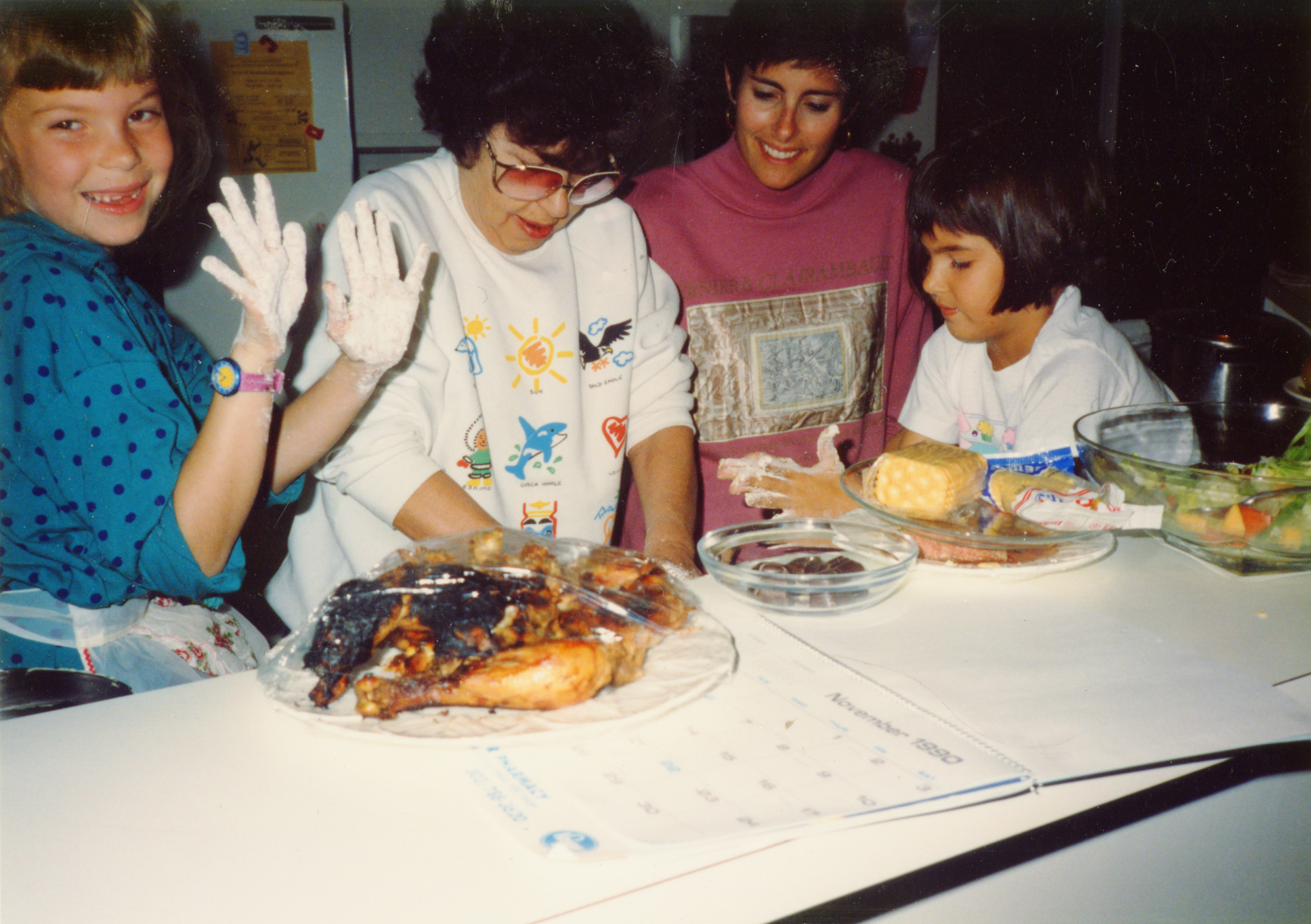 Bluma Goldberg with her daughter, Esther Greenberg, and granddaughters, Leah and Rachel. Image courtesy Esther Goldberg Greenberg