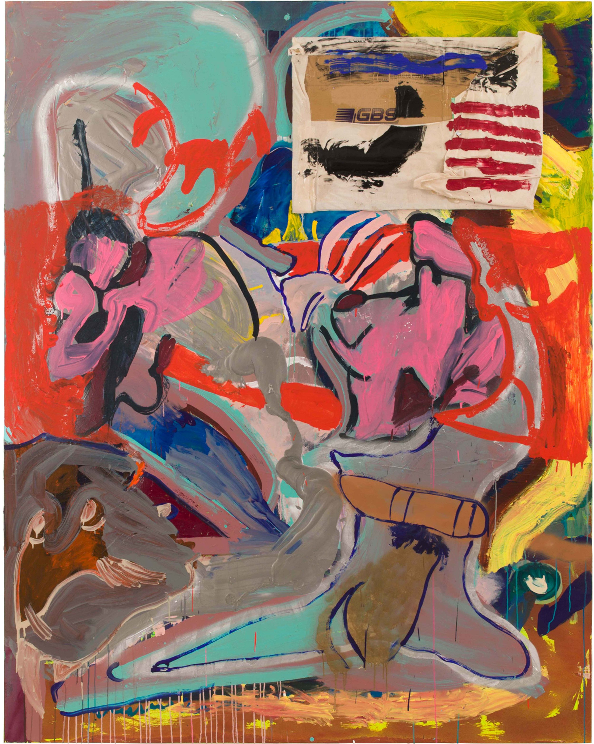 Drew Beattie and Ben Shepard  Bad Flag  2015 acrylic, spray paint and cardboard on canvas 96 x 76 inches