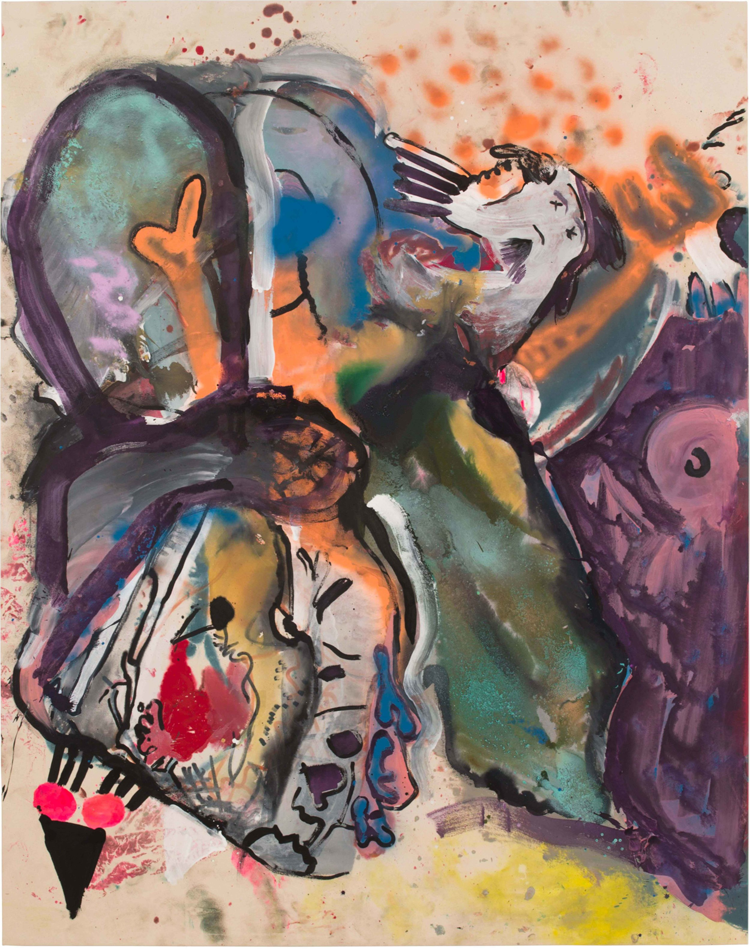 Drew Beattie and Ben Shepard  Bird Mountain  2015 acrylic and spray paint on canvas 96 x 76 inches