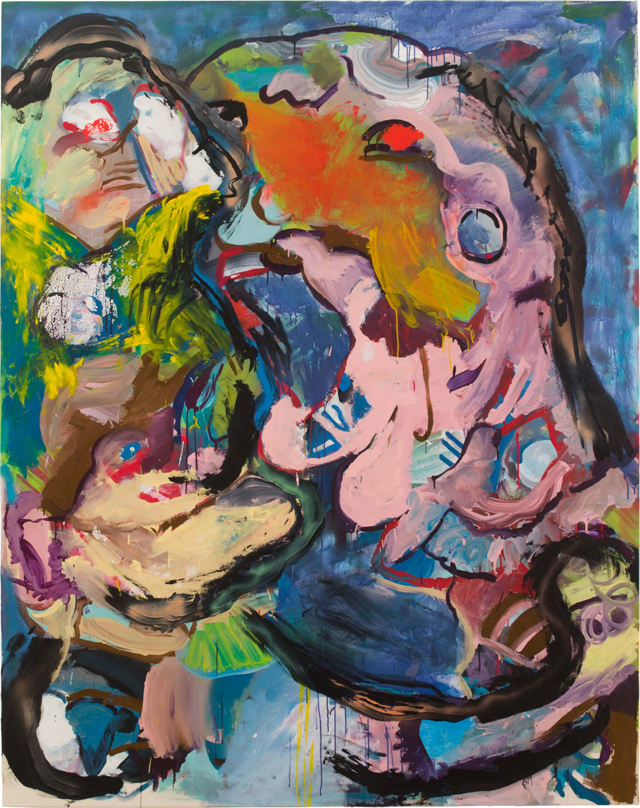 Drew Beattie and Ben Shepard  Night Battles  2015 acrylic and spray paint on canvas 96 x 76 inches