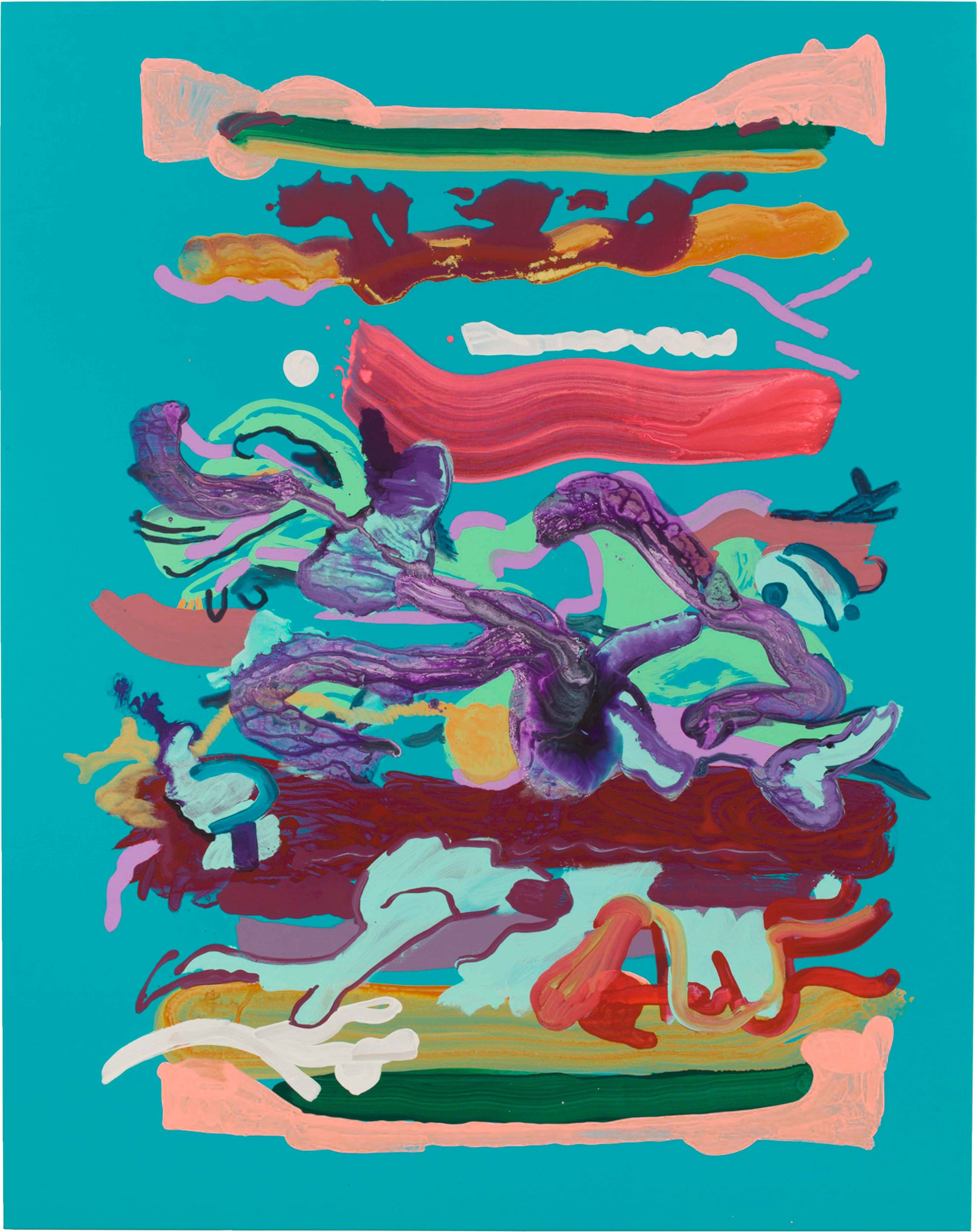 Drew Beattie and Ben Shepard  Sandwich on Blue  2015 acrylic on canvas 96 x 76 inches