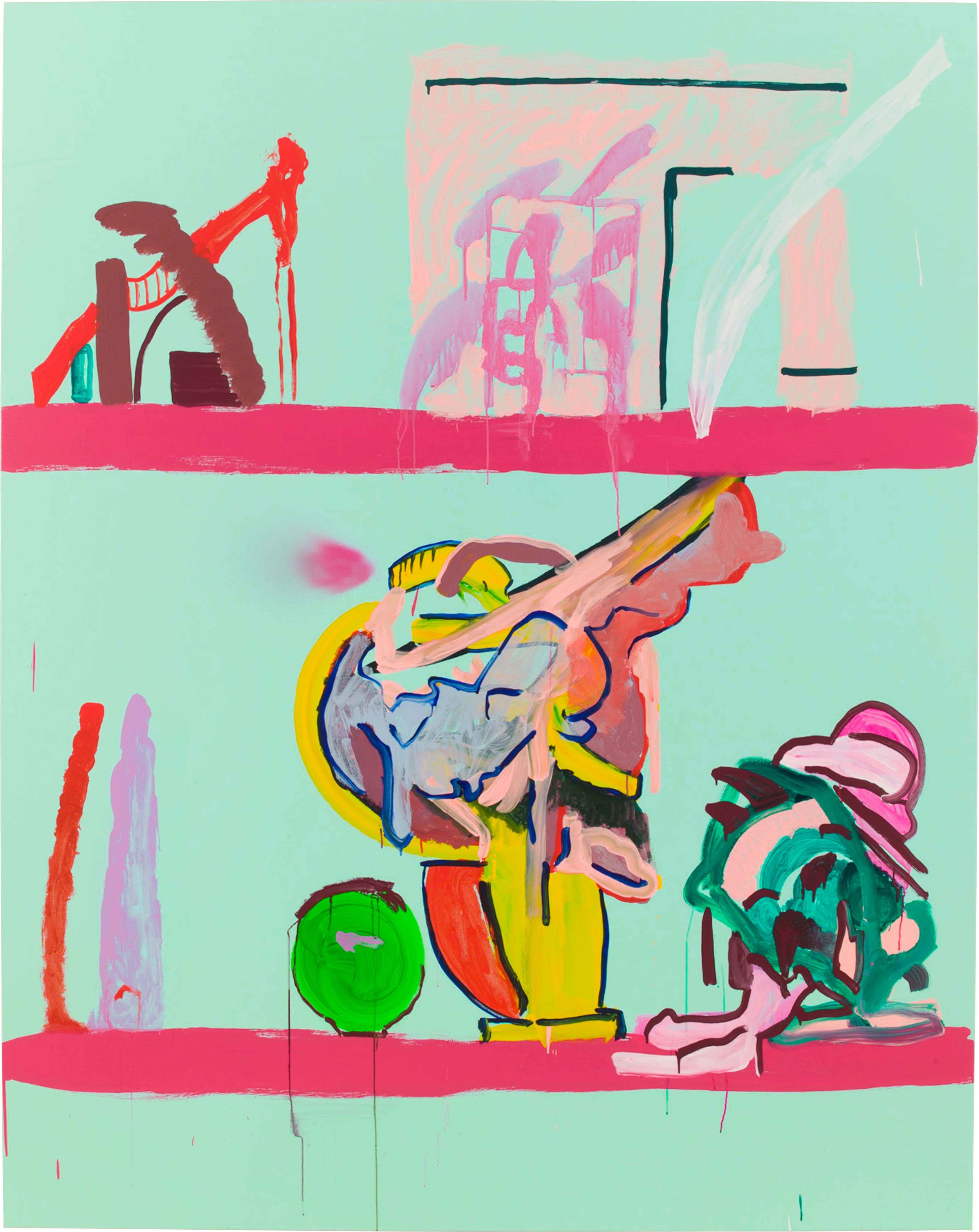 Drew Beattie and Ben Shepard  Shelves on Minty Green  2015 acrylic and spray paint on canvas 96 x 76 inches