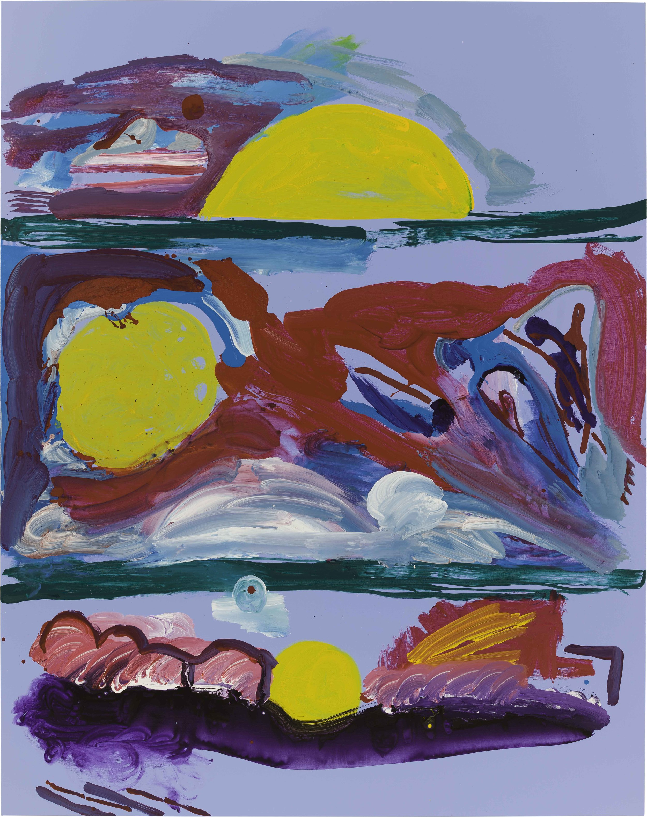 Drew Beattie and Ben Shepard  Shelves with Swimmers and Flyers at Dawn  2015 acrylic on canvas 96 x 76 inches