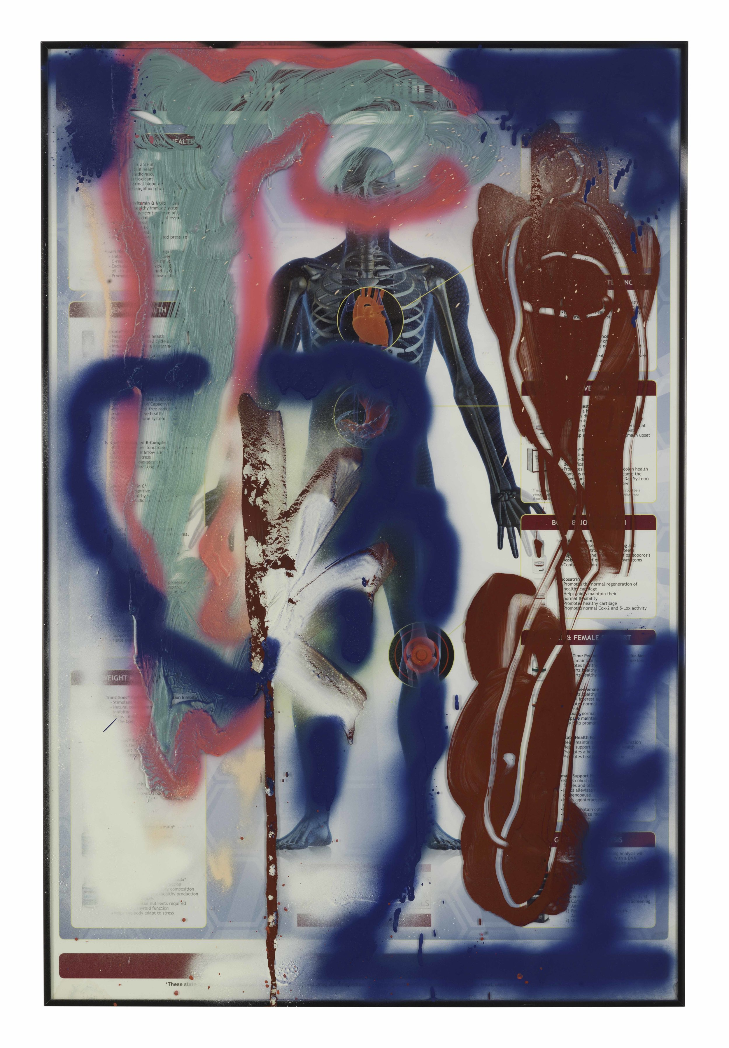 Drew Beattie and Ben Shepard  Anatomy in Red and Blue   2016 acrylic and spray paint on framed poster 36¼ x 24 inches