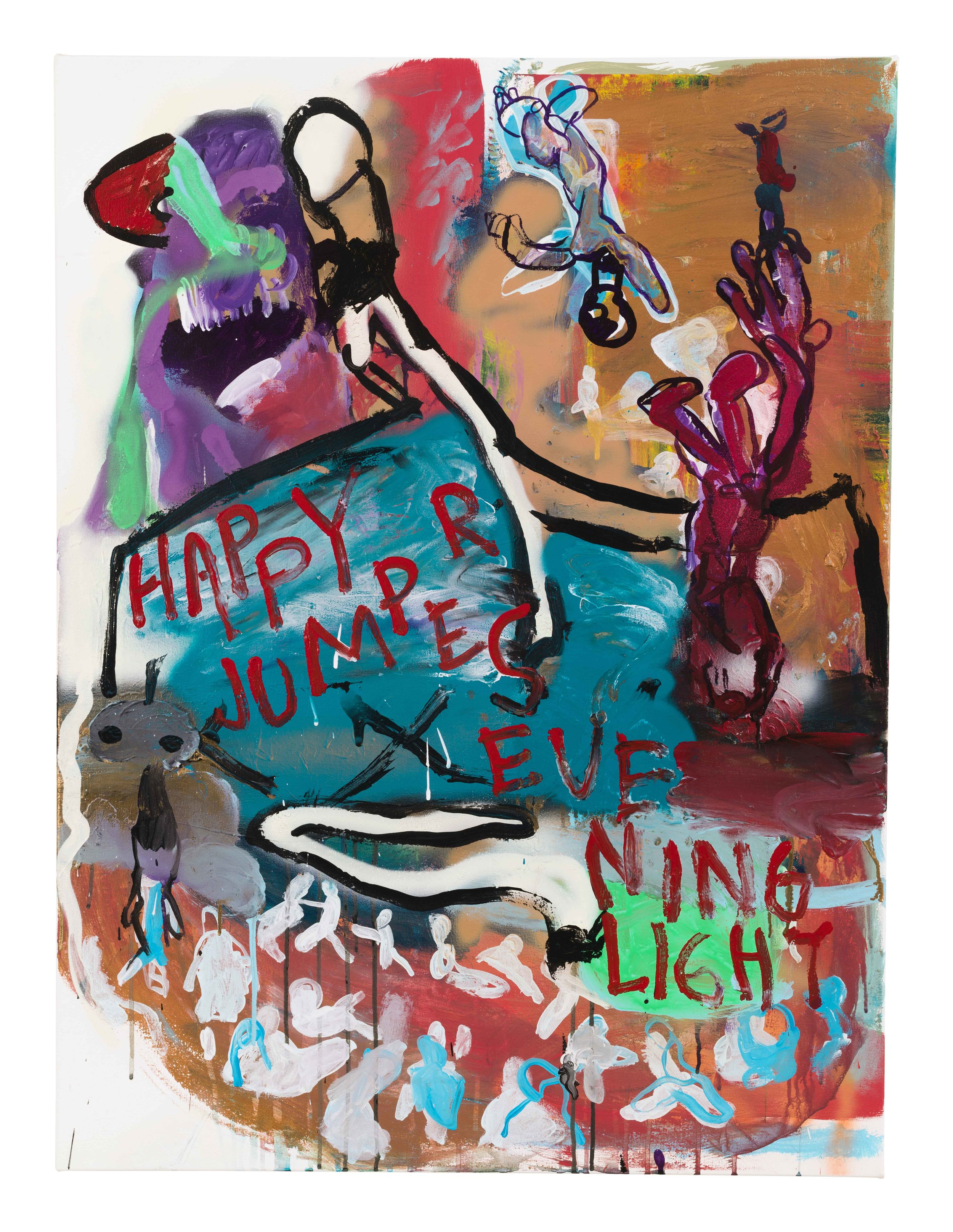 Drew Beattie and Ben Shepard  Happy Jumpers  2015 acrylic and spray paint on canvas 40 x 30 inches