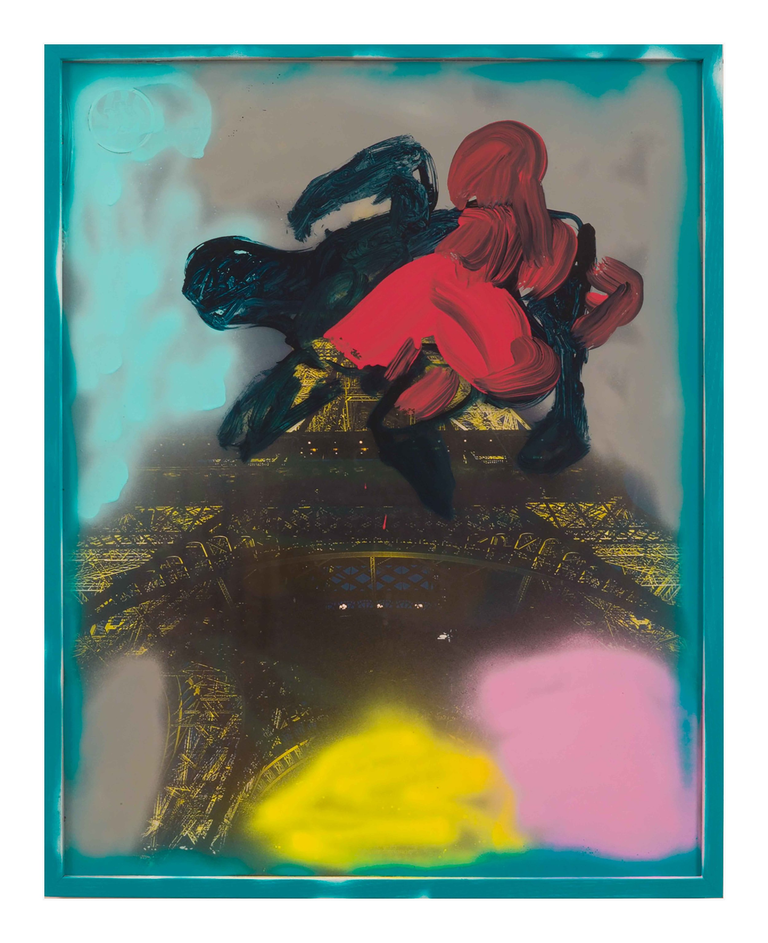 Drew Beattie and Ben Shepard  Fight in Paris   2015 acrylic and spray paint on framed poster 29 x 23 inches