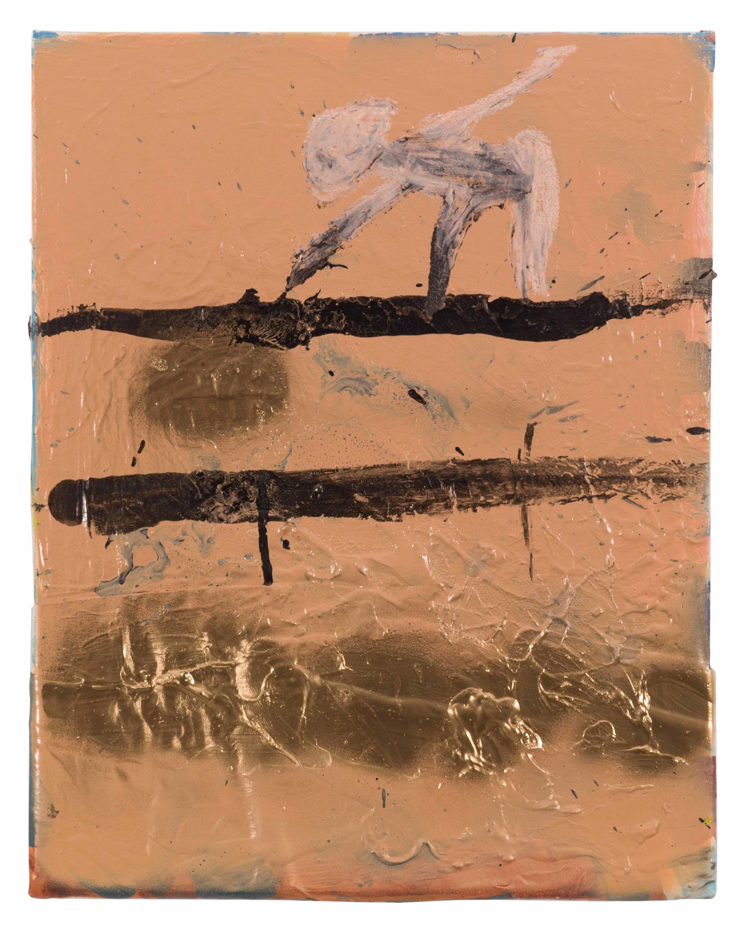 Drew Beattie and Ben Shepard  Small Shelves on Mocha  2015 acrylic, spray paint and paper on canvas 14 x 11 inches